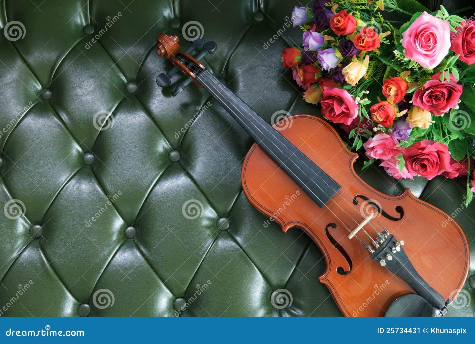 скрипка роскоши кожи зеленого цвета цветка backgrou