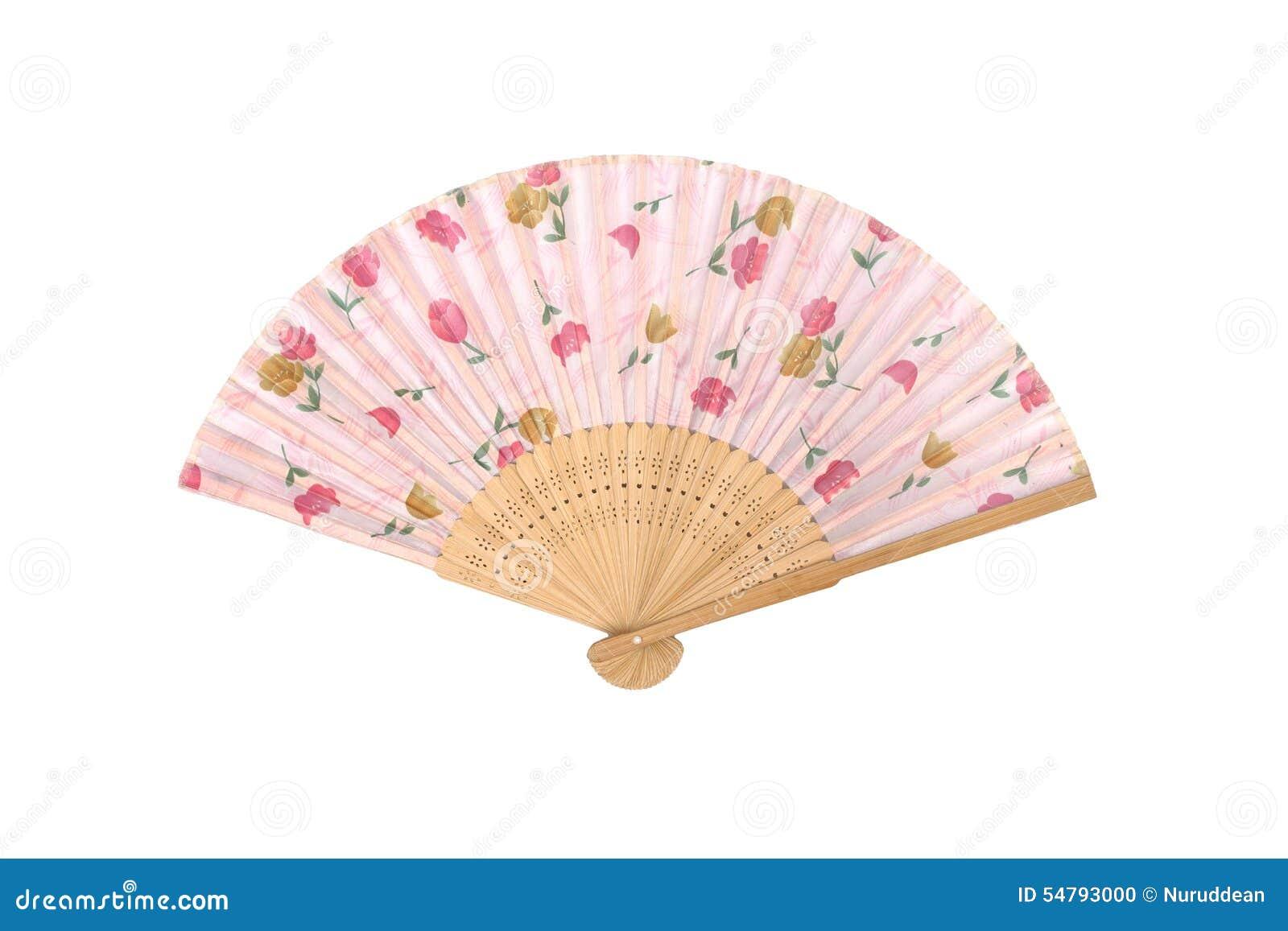 Складчатость античного вентилятора японская на белой предпосылке