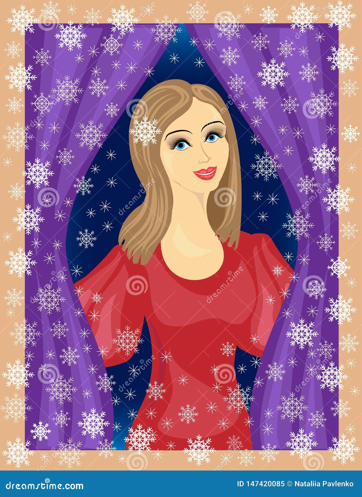 Славная дама смотрит вне окно Девушка усмехается, она в хорошем настроении В зиме улицы, красивые снежинки