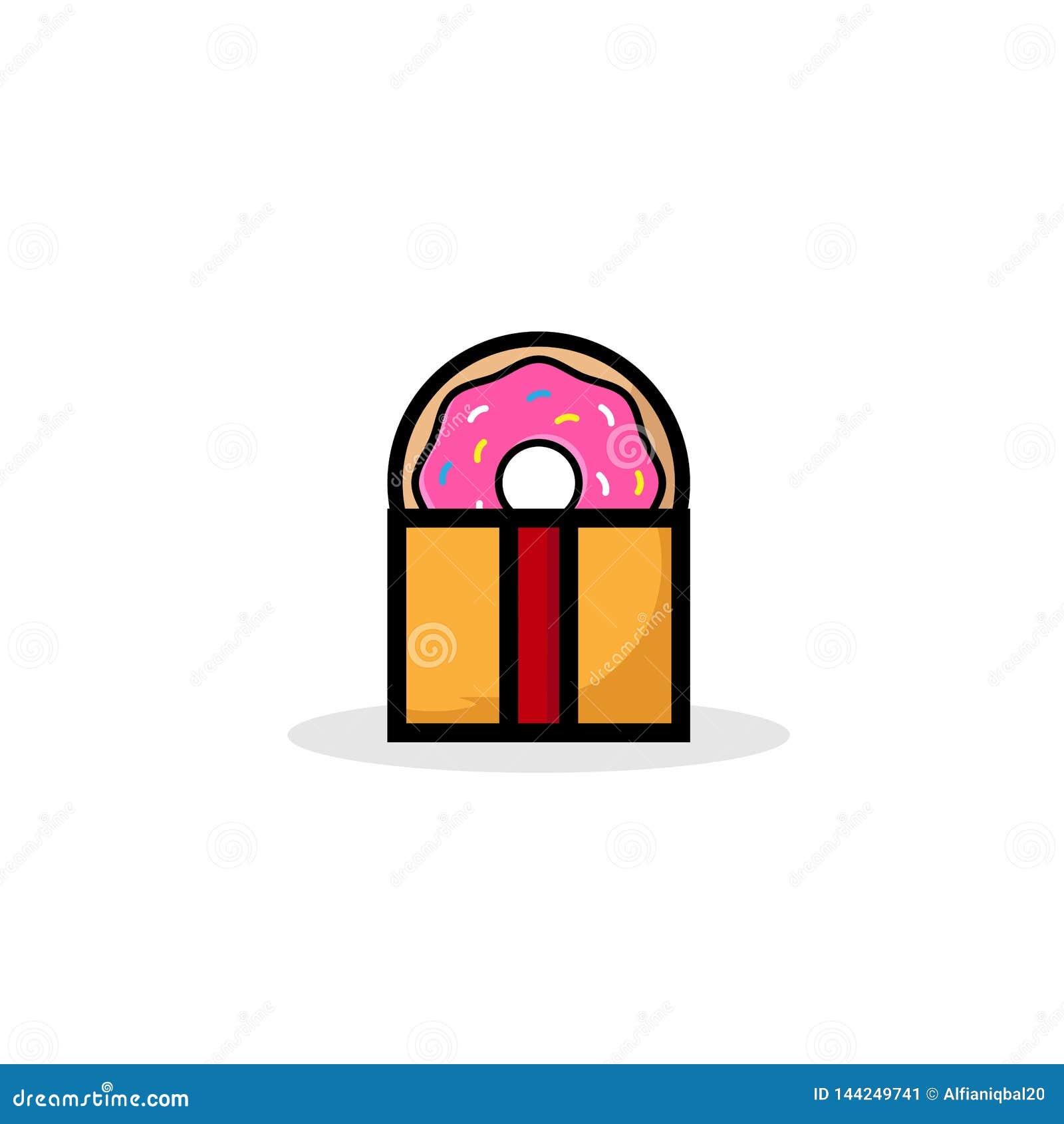Сладкий подарок донута, донут с розовой поливой изолированной на белой предпосылке Иллюстрация вектора в стиле шаржа Логотип для