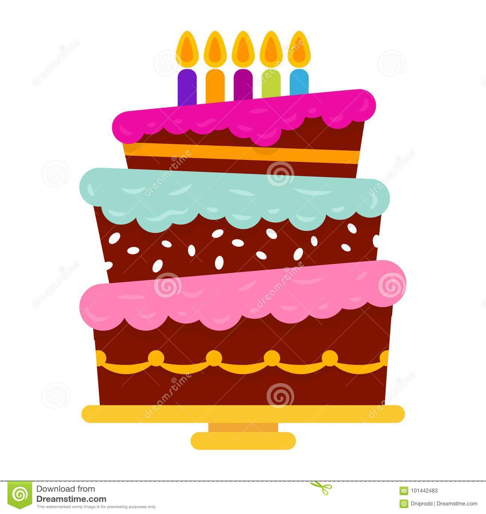 Сладостный именниный пирог с 5 горящими свечами