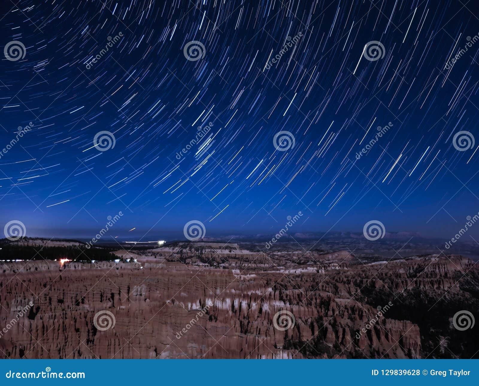 Следы звезды над каньоном Bryce
