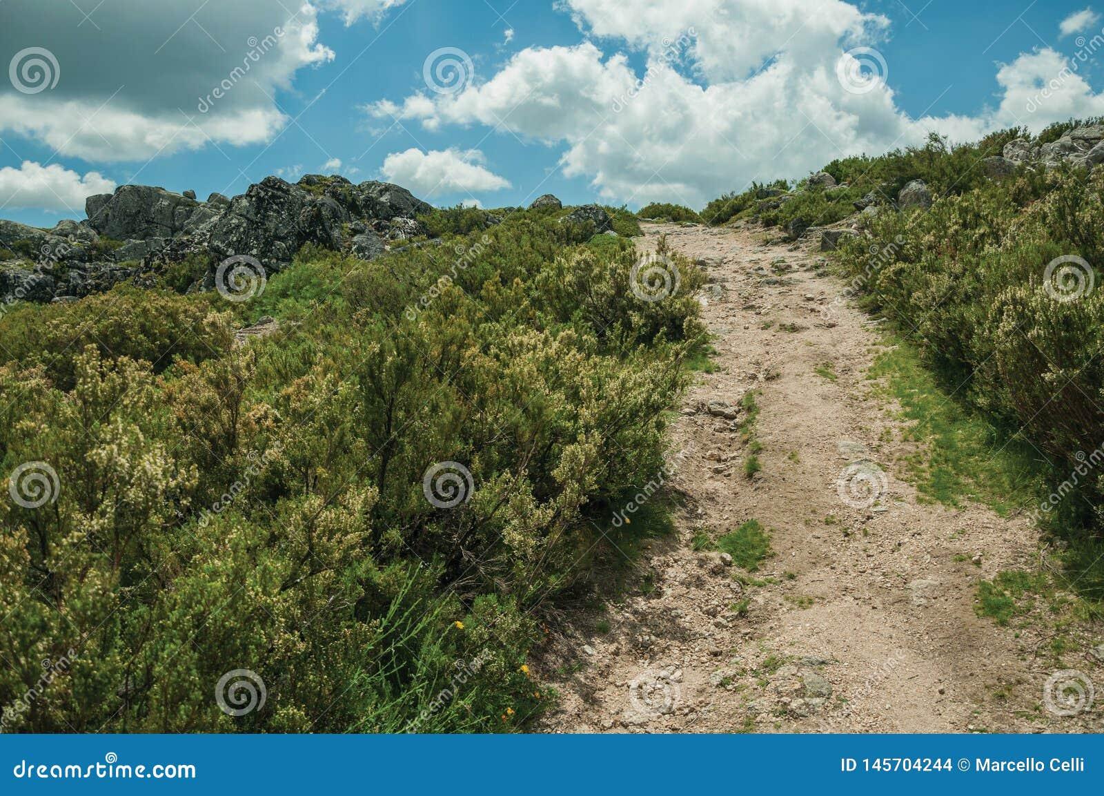 След идя через скалистую местность на гористых местностях