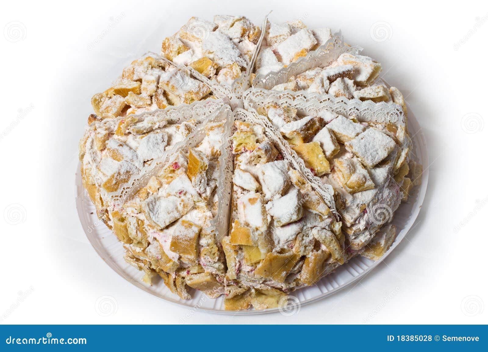 сливк торта 8 сахар напудренный частями