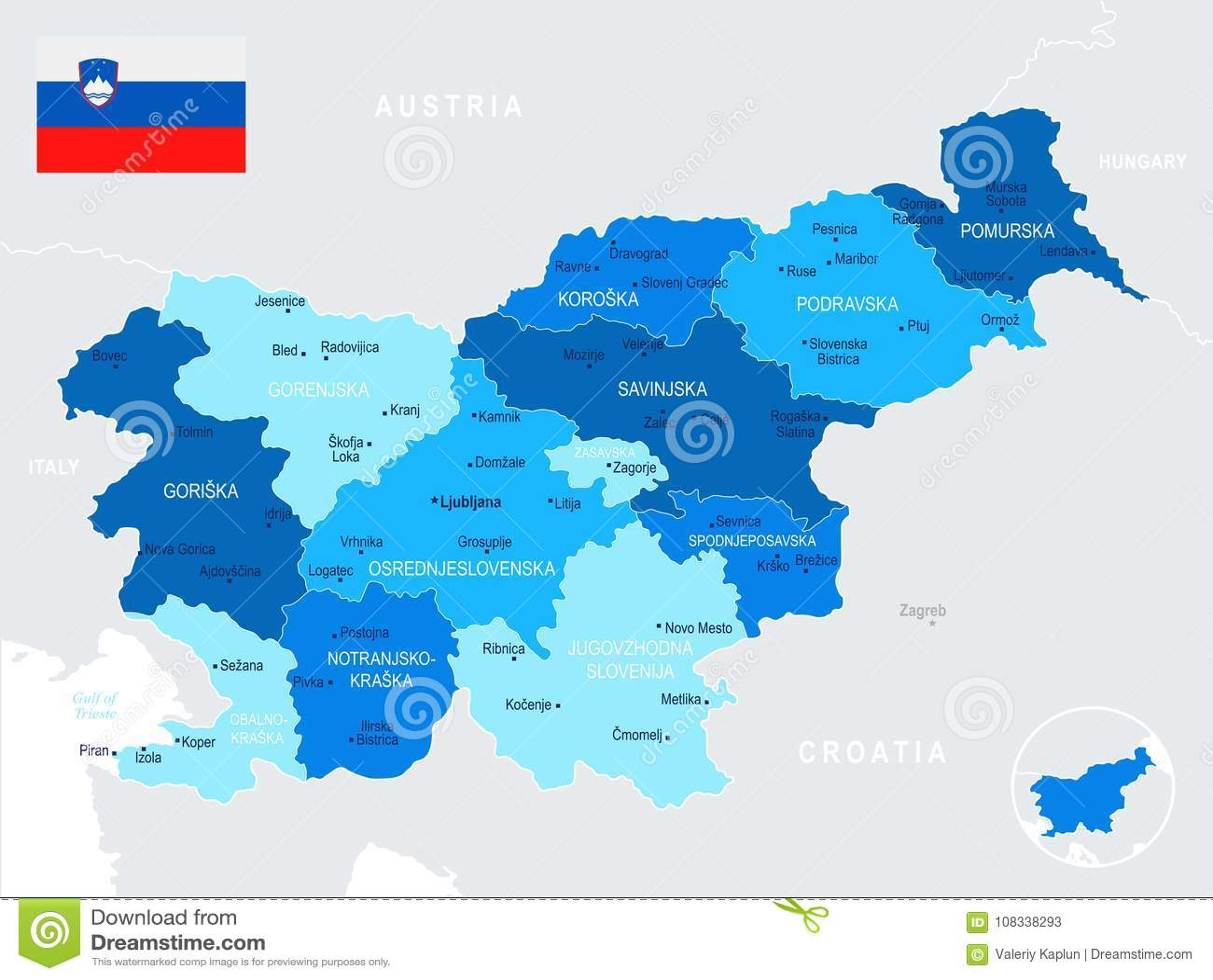 Sloveniya Karta I Flag Detalnaya Illyustraciya Vektora