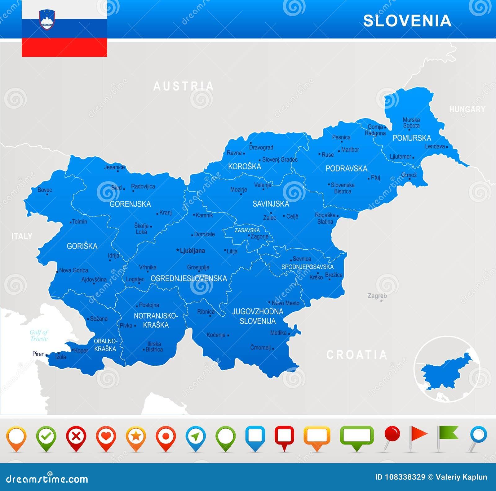 Sloveniya Karta Flag I Znachki Navigacii Detalnaya Illyustraciya