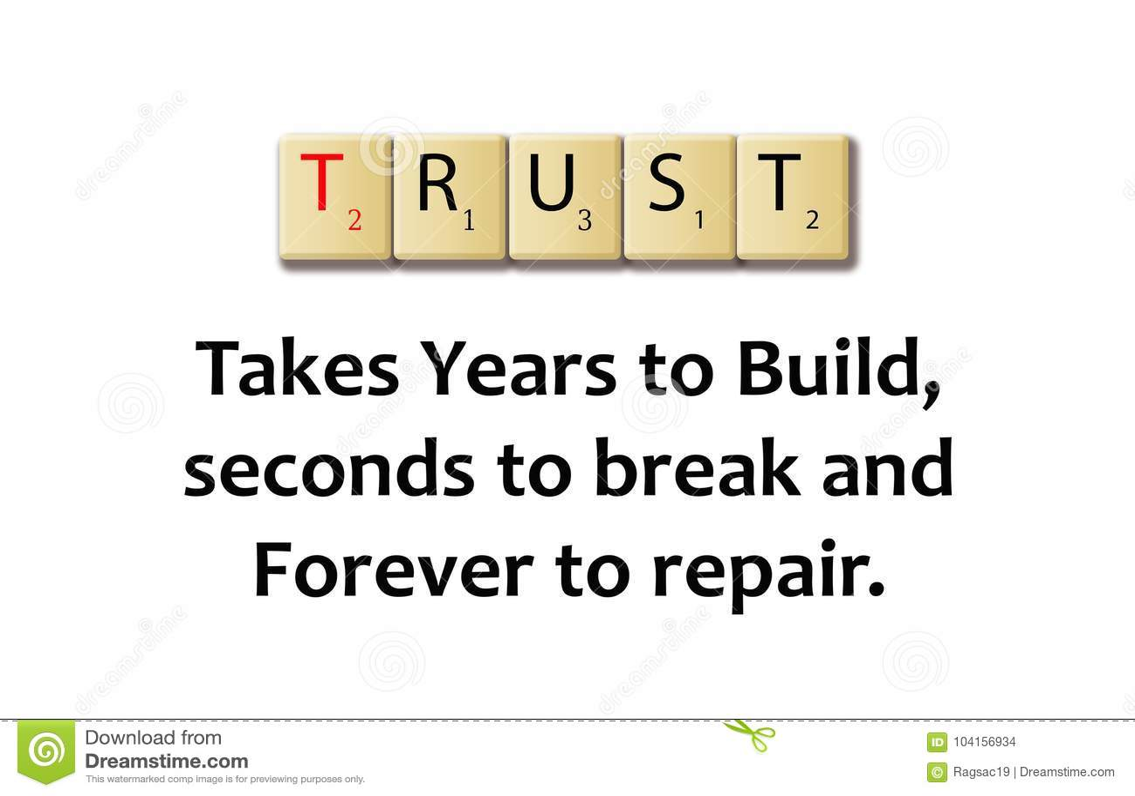 Слово доверия в блоках деревянных иллюстрации