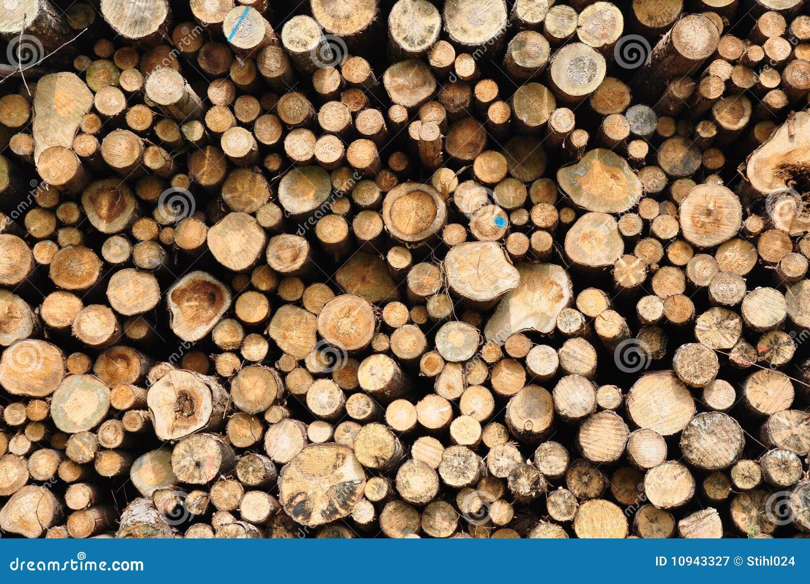 сложенные стволы дерева вверх
