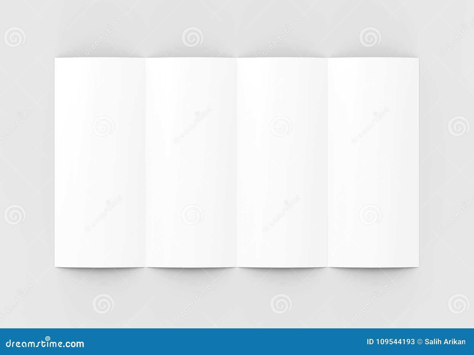 4 сложили - четырехкратный - вертикальный модель-макет брошюры изолированный на sof
