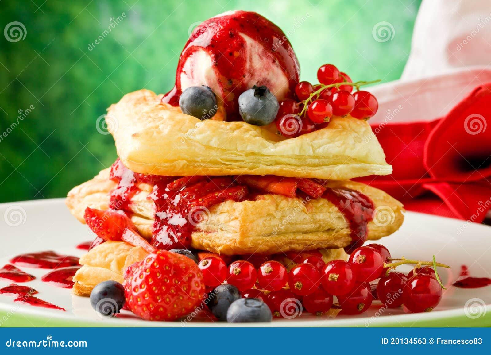 слойка печенья льда ягод cream