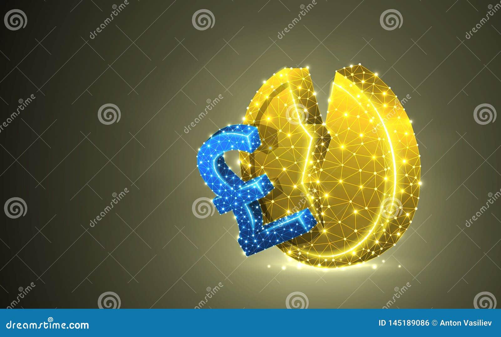 Сломленный английский фунт Иллюстрация 3d золотой монетки красочная П