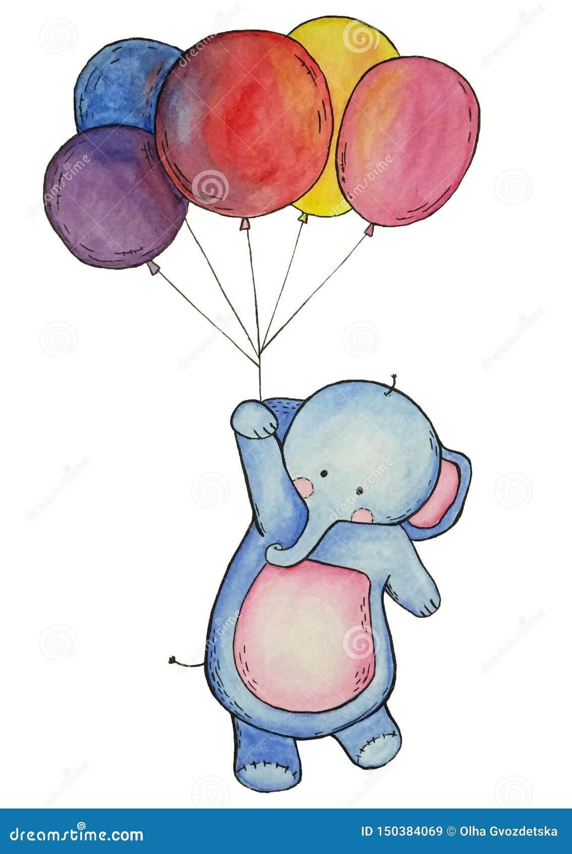 Слон акварели с красочными воздушными шарами изолировал элементы на белой предпосылке
