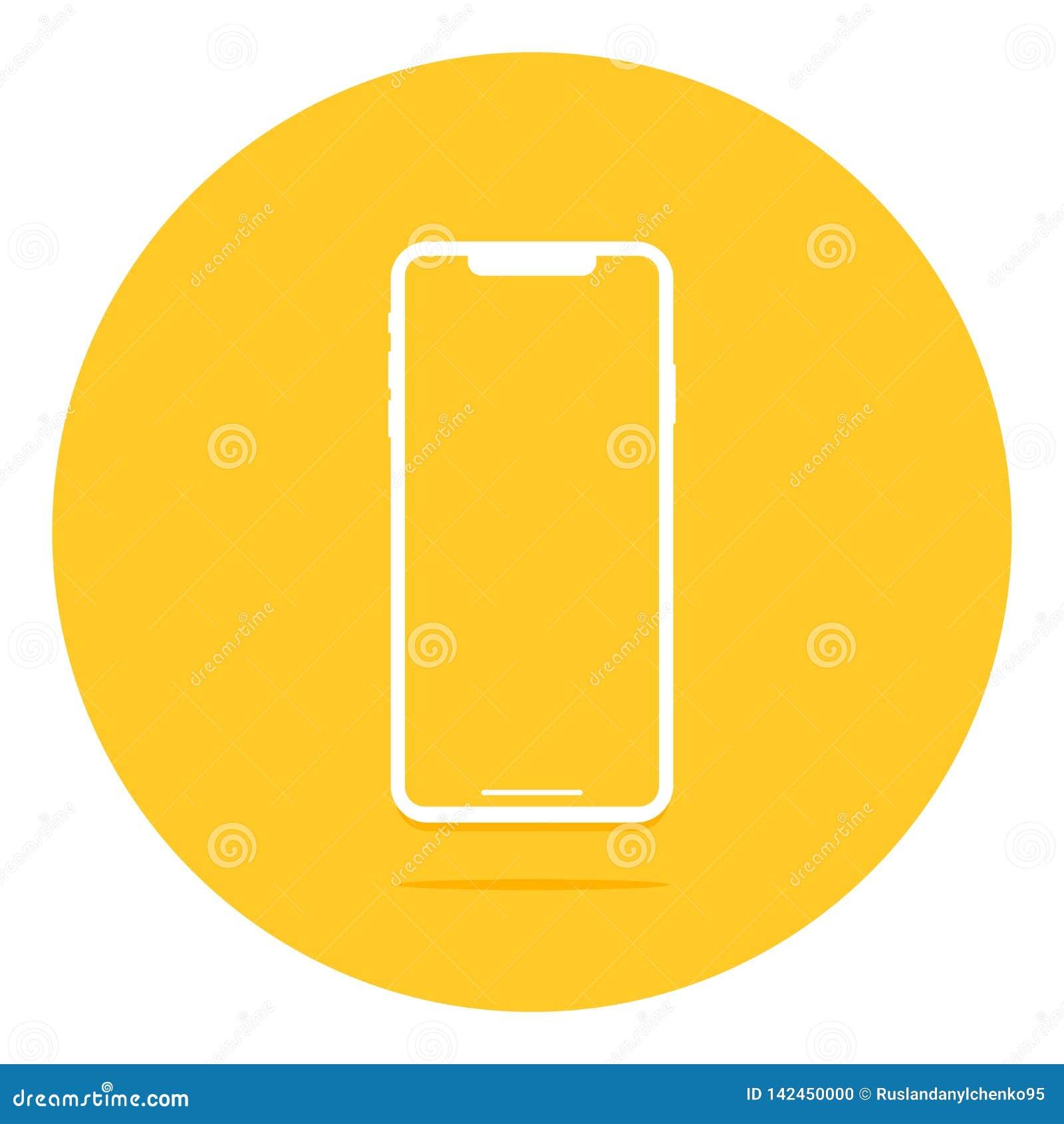 Пустой экран Смартфон с отражением и тенью r Плоский дизайн новых технологий