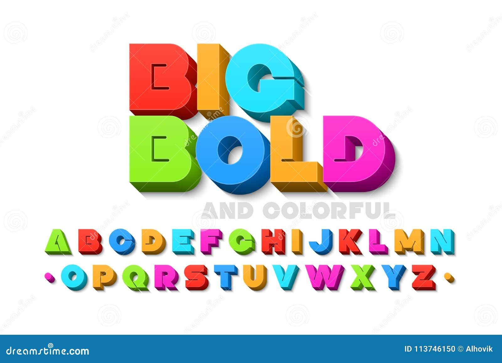 Смелейший красочный шрифт 3d