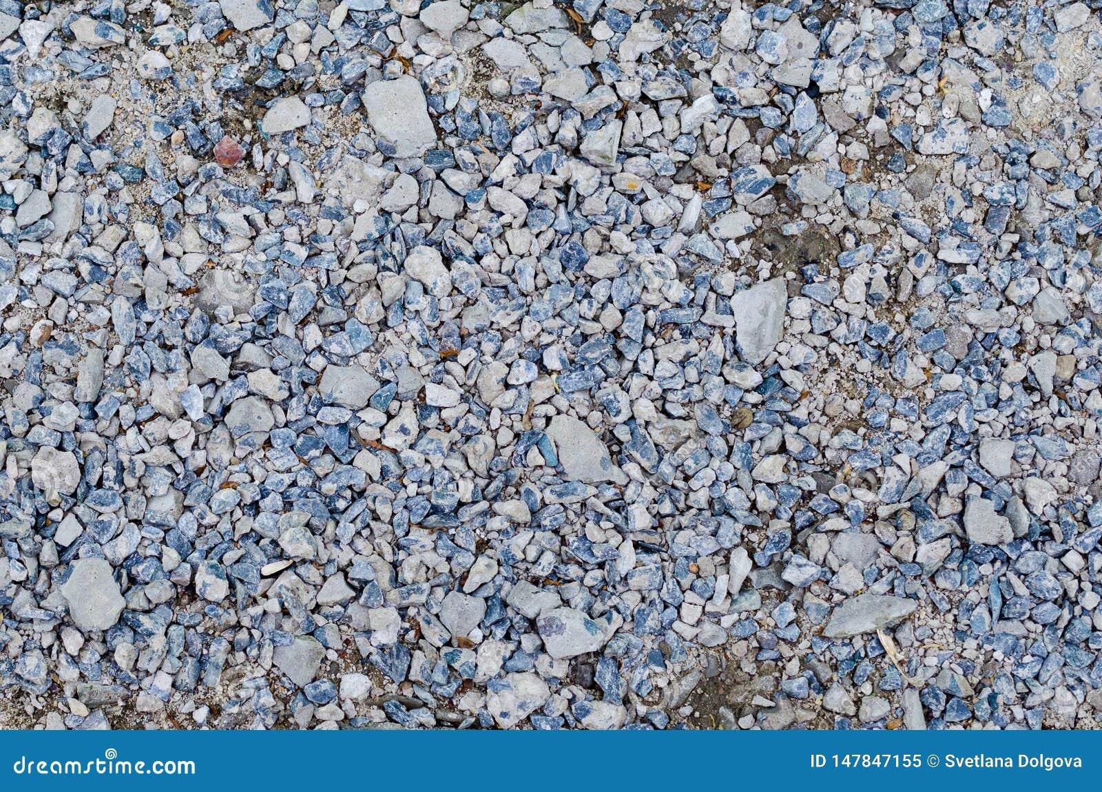 Смешивание гравия в голубых белых и серых цветах