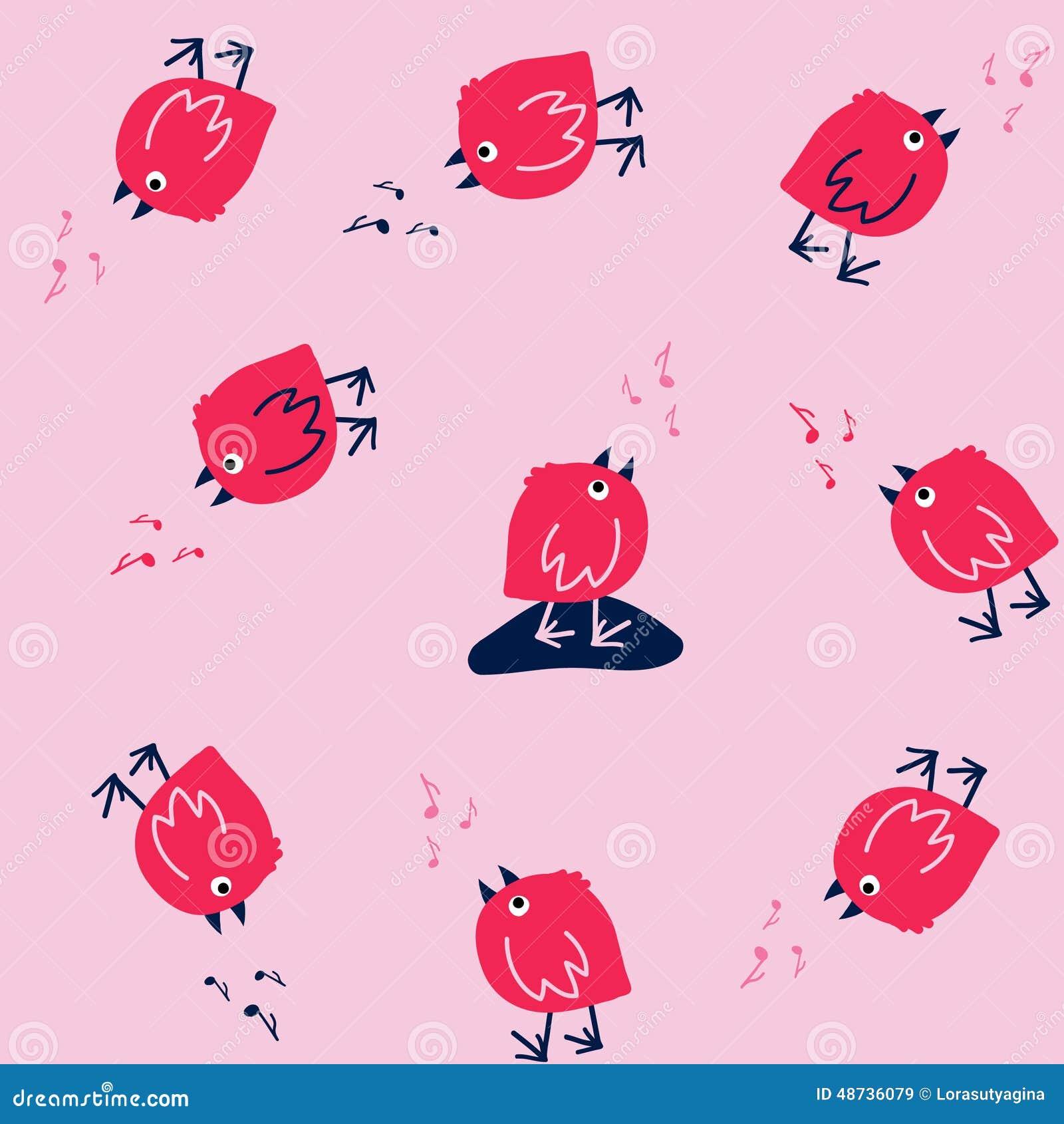 Смешная безшовная картина с птицами петь на розовой предпосылке