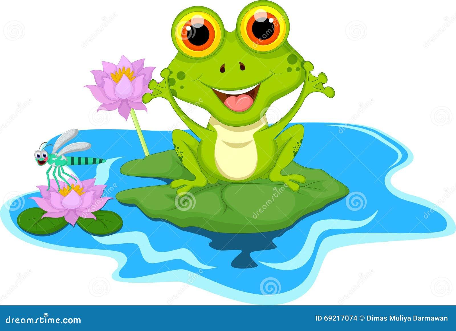 Смешная зеленая лягушка сидя на лист