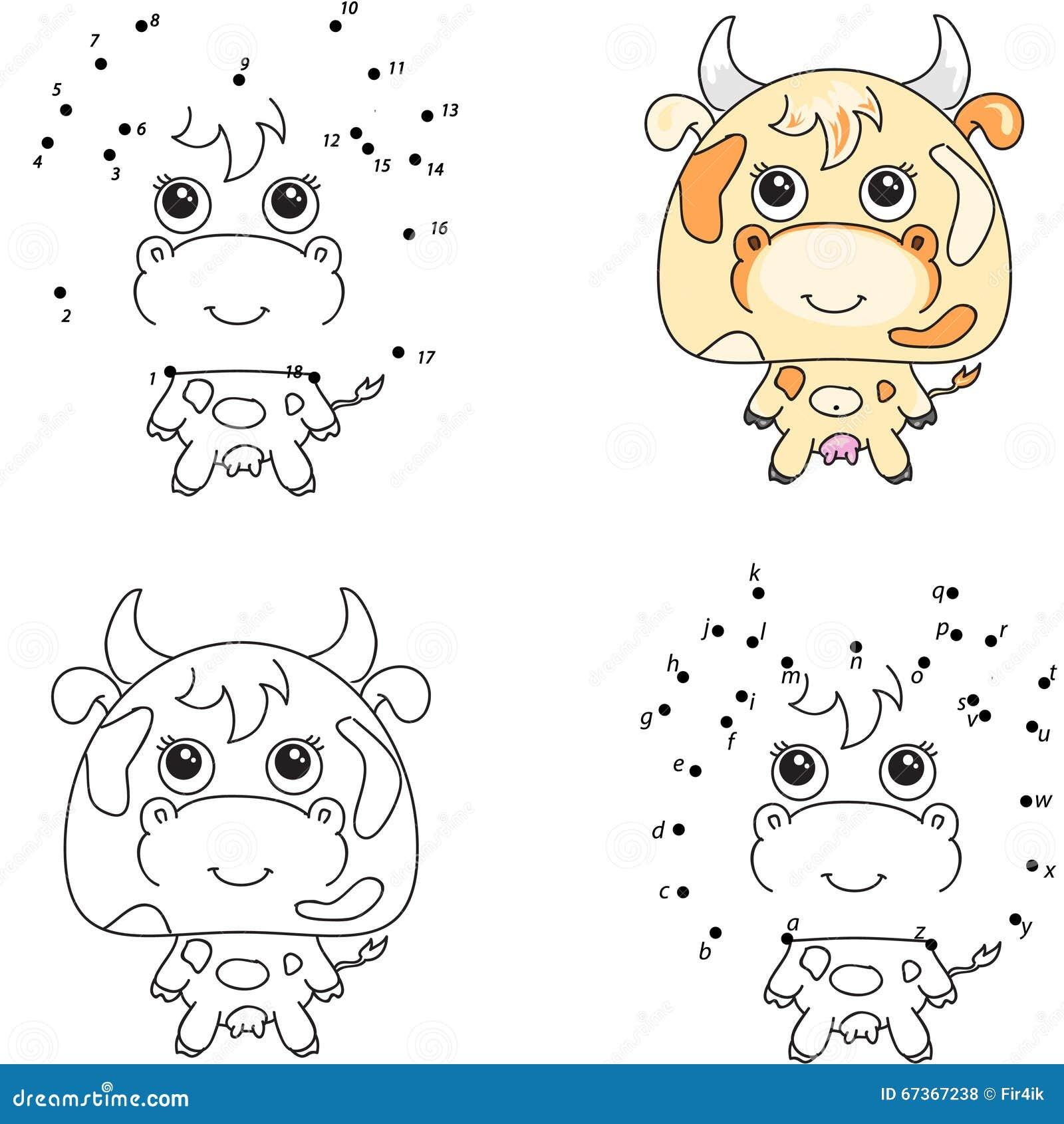 Смешная и милая корова Книжка-раскраска и точка для того ...