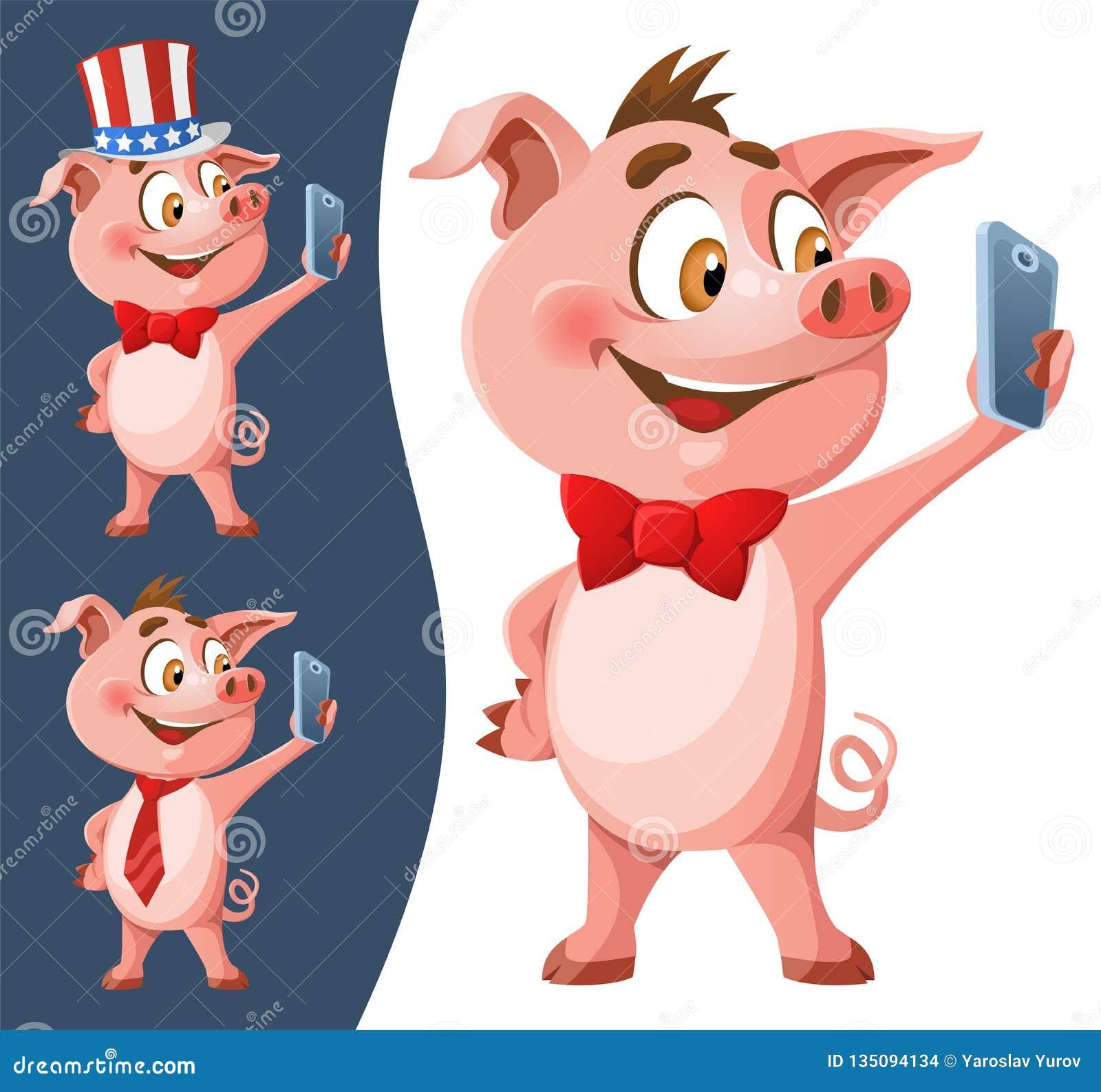 Смешная свинья как символ selfie Нового Года 2019 делая