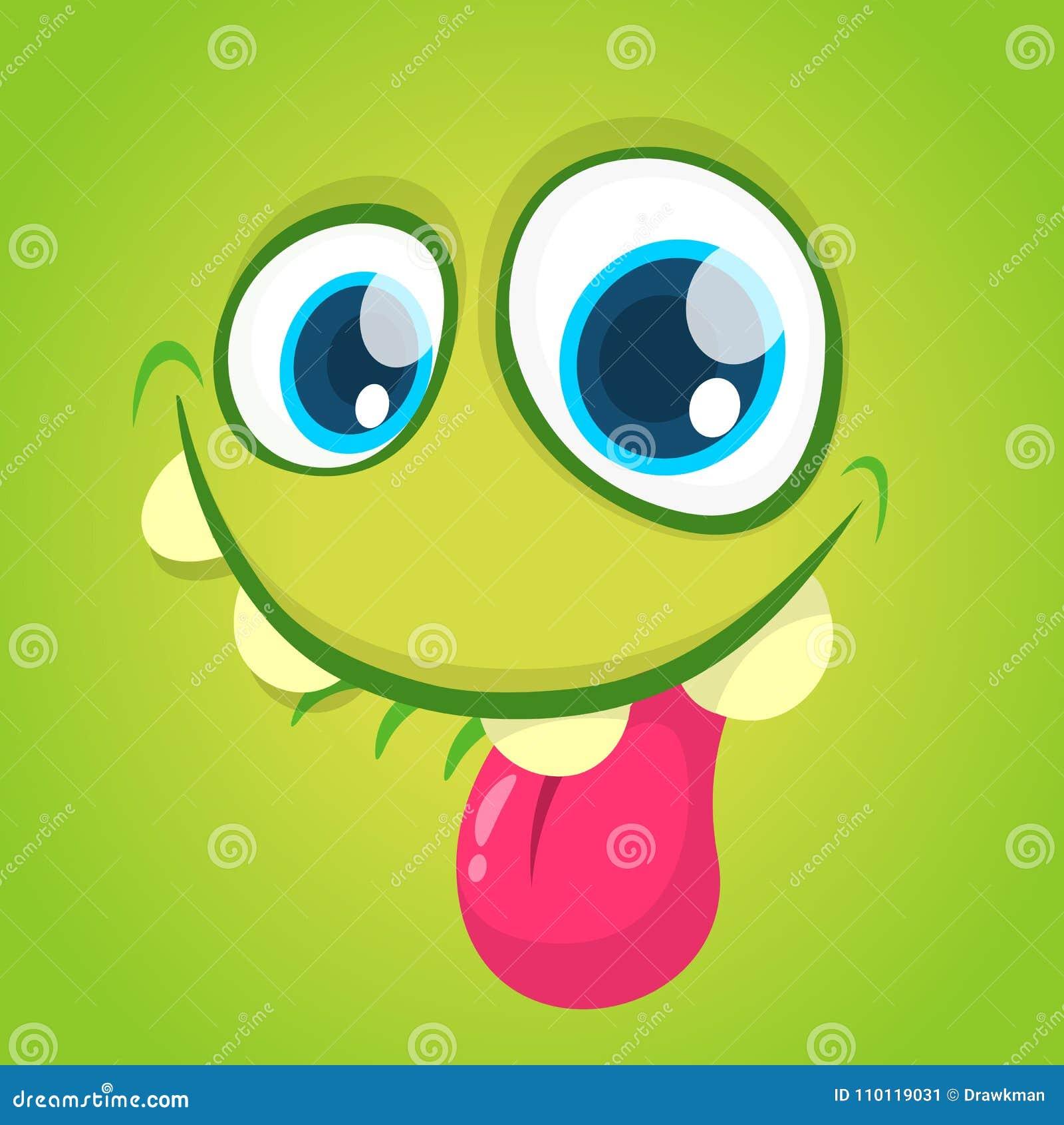 Смешная сторона изверга шаржа вектора при большие глаза показывая язык Изверг зеленого цвета хеллоуина вектора