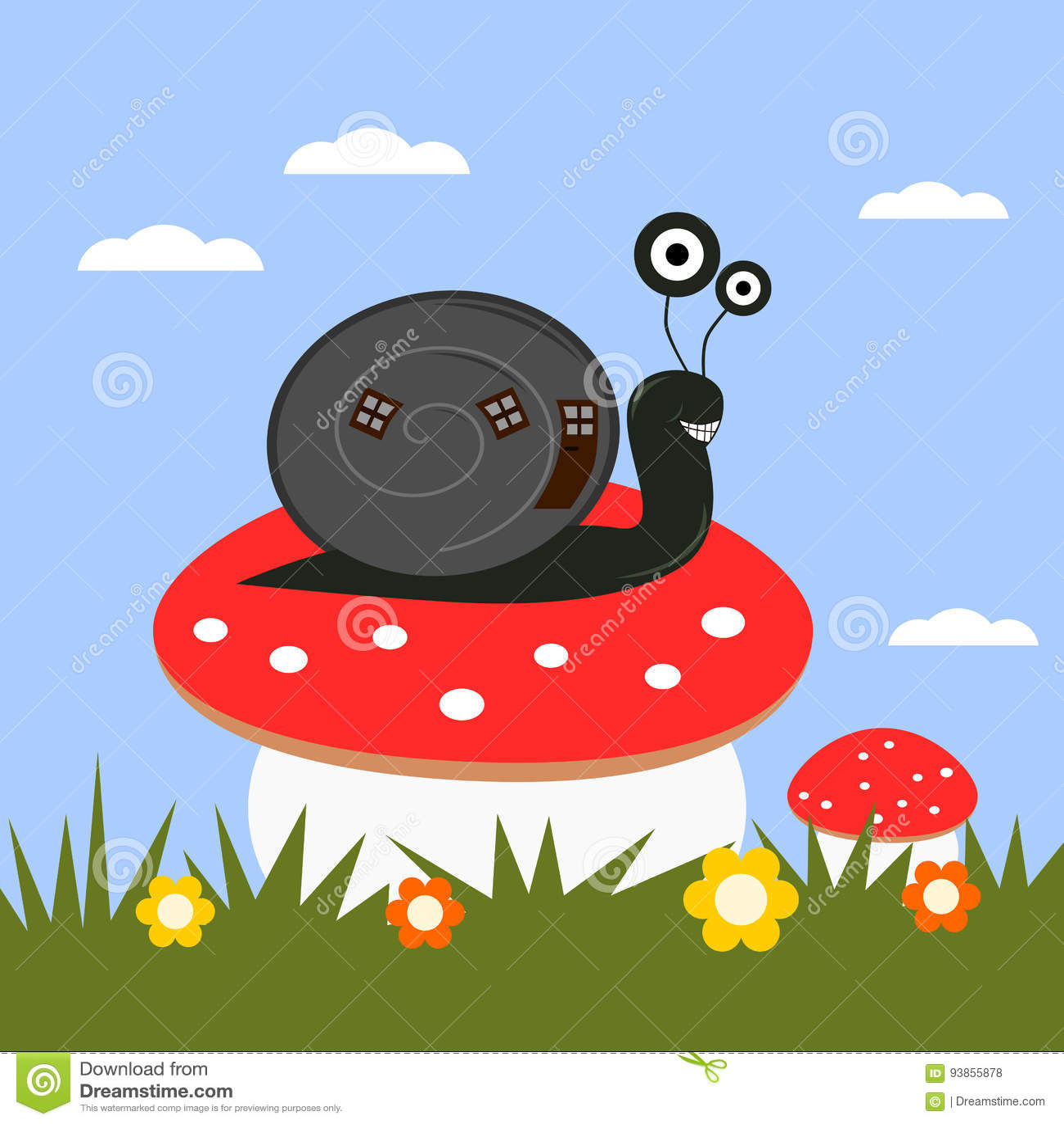 Смешная улитка шаржа на toadstool