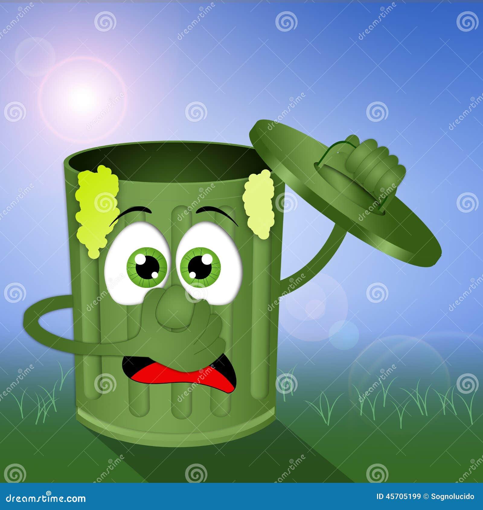 Смешное зеленое вонючее мусорное ведро