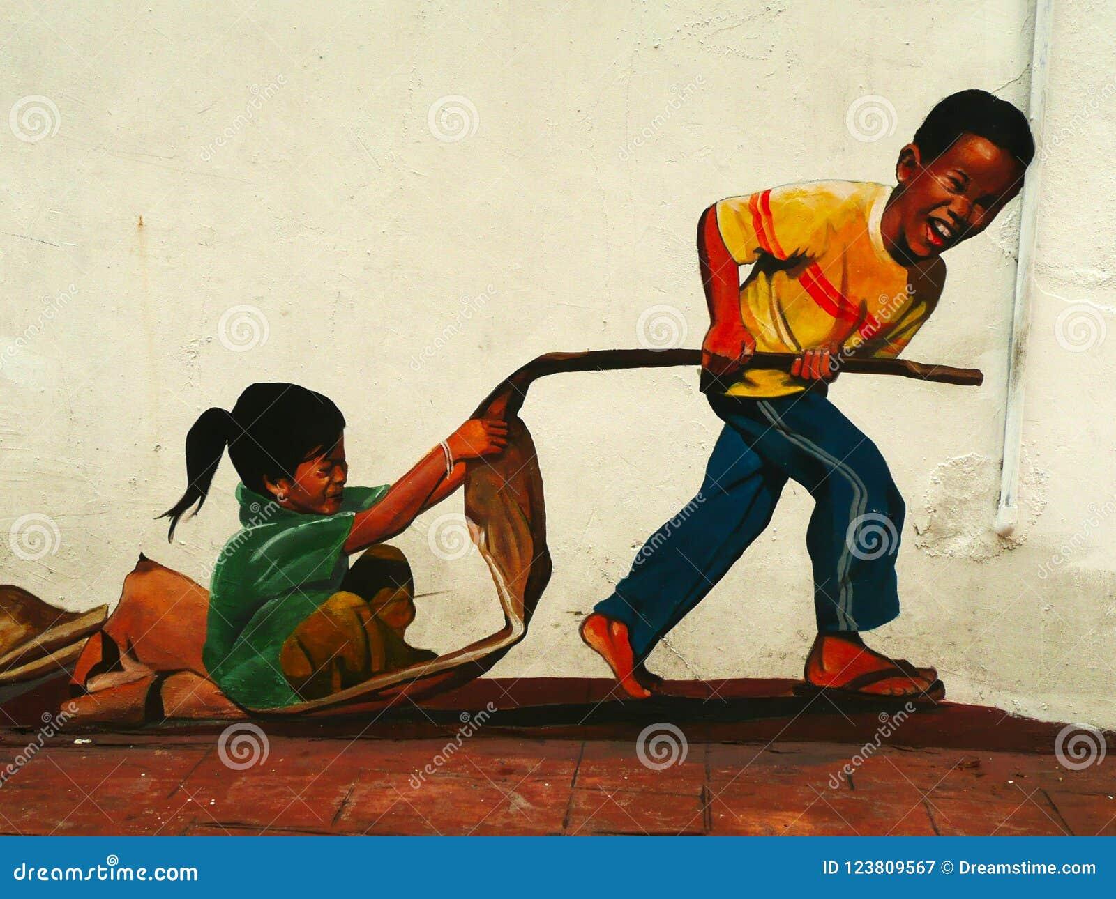 Смешное искусство улицы в Малакке Melaka, Малайзии