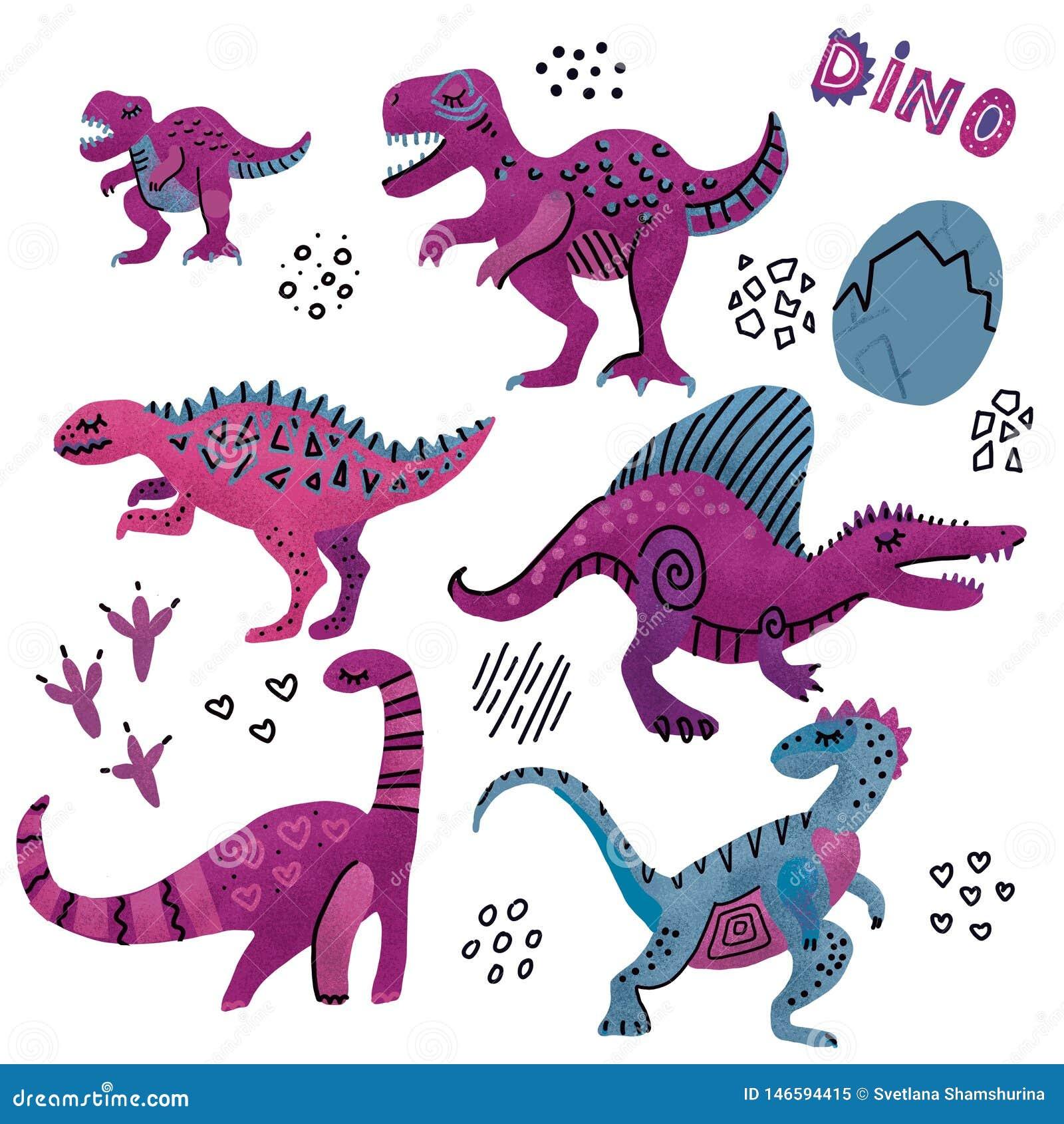 Смешное собрание динозавров Милые ребяческие характеры в пурпурных цветах рука 6 текстурировала вычерченный dino с яйцами Динозав