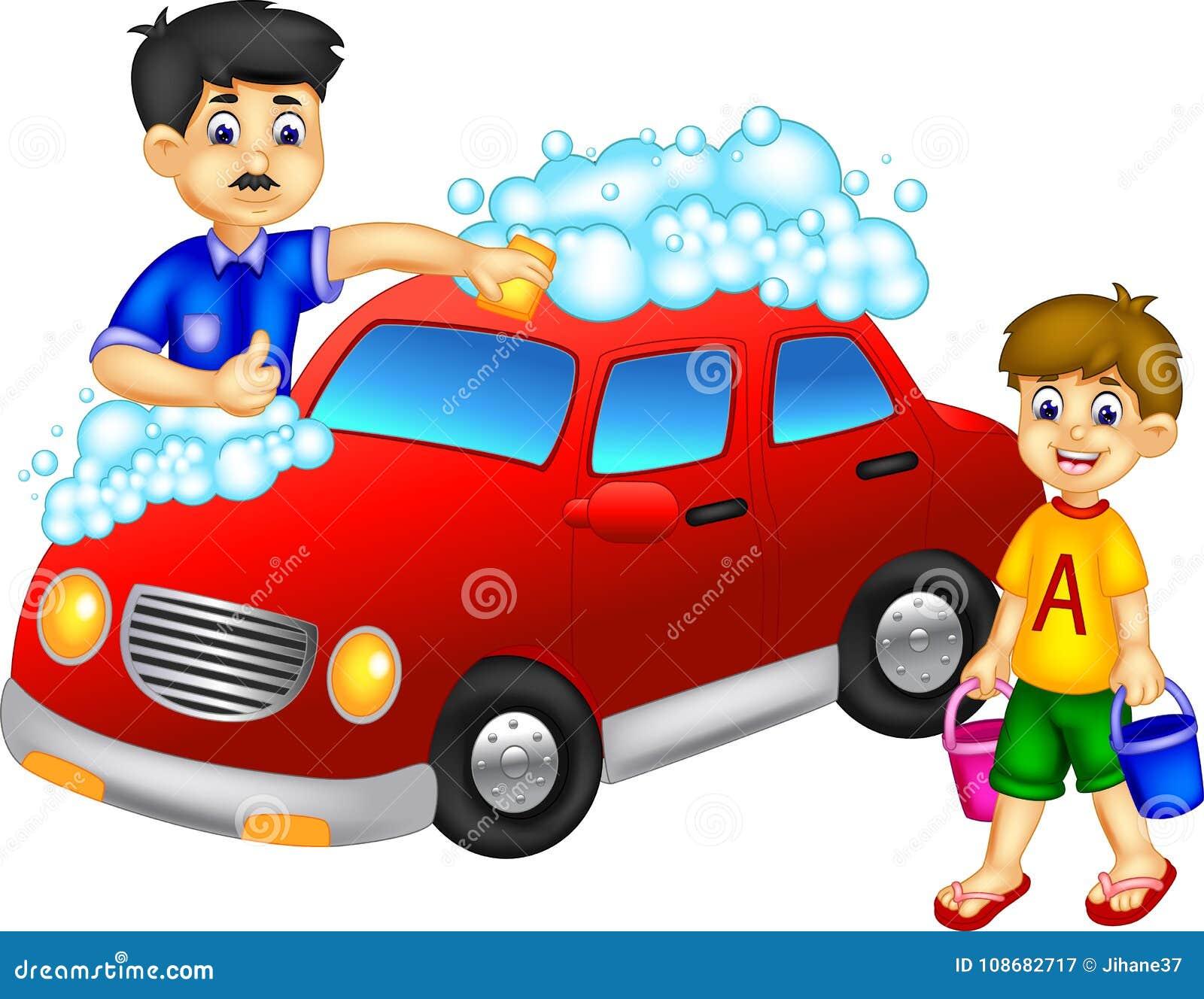 Смешной автомобиль шаржа отца и сына моя с усмехаться