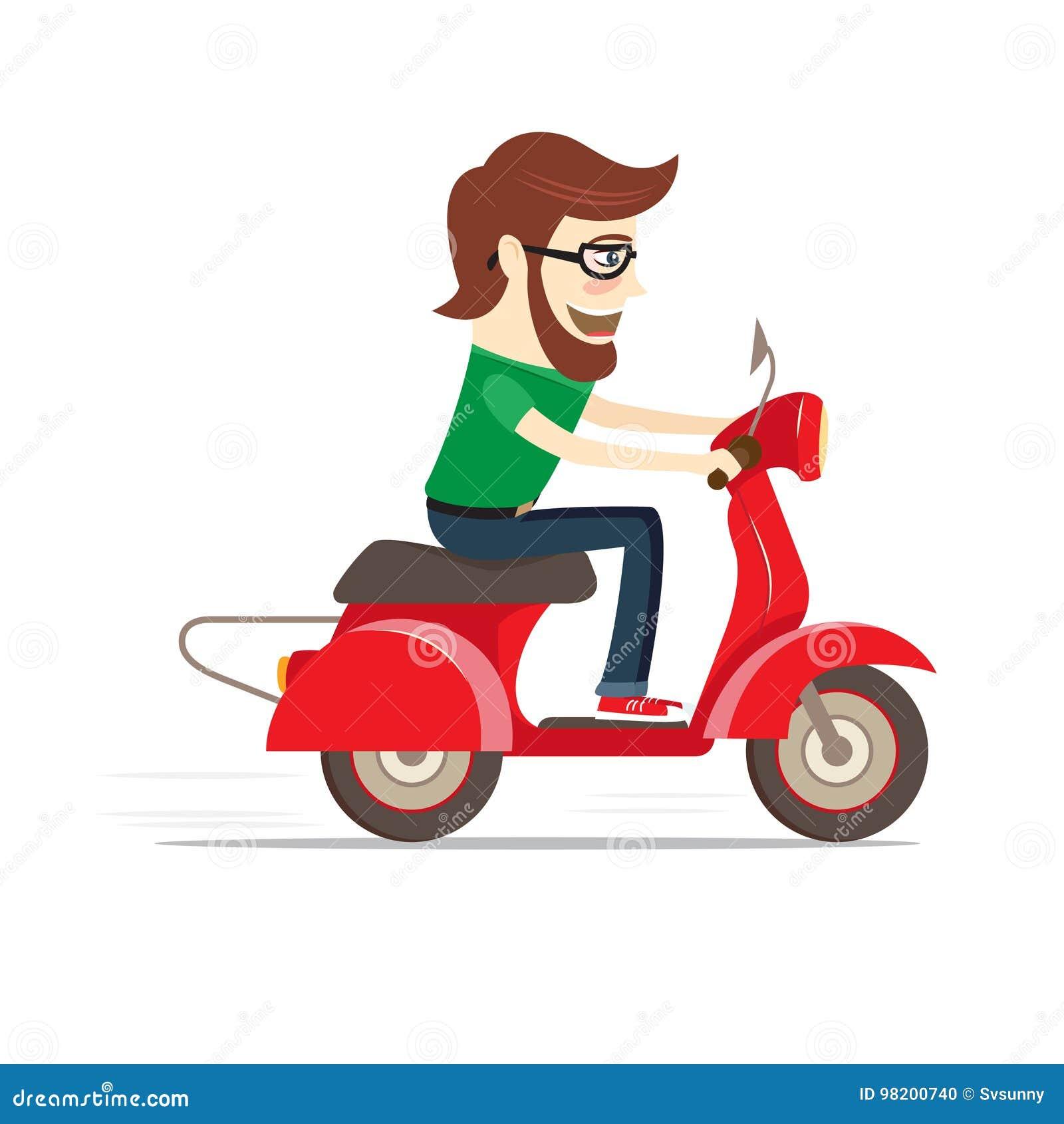 Download Смешной бородатый парень ехать красный самокат Плоский дизайн также вектор иллюстрации притяжки Corel Иллюстрация вектора - иллюстрации насчитывающей мотоцикл, шарж: 98200740