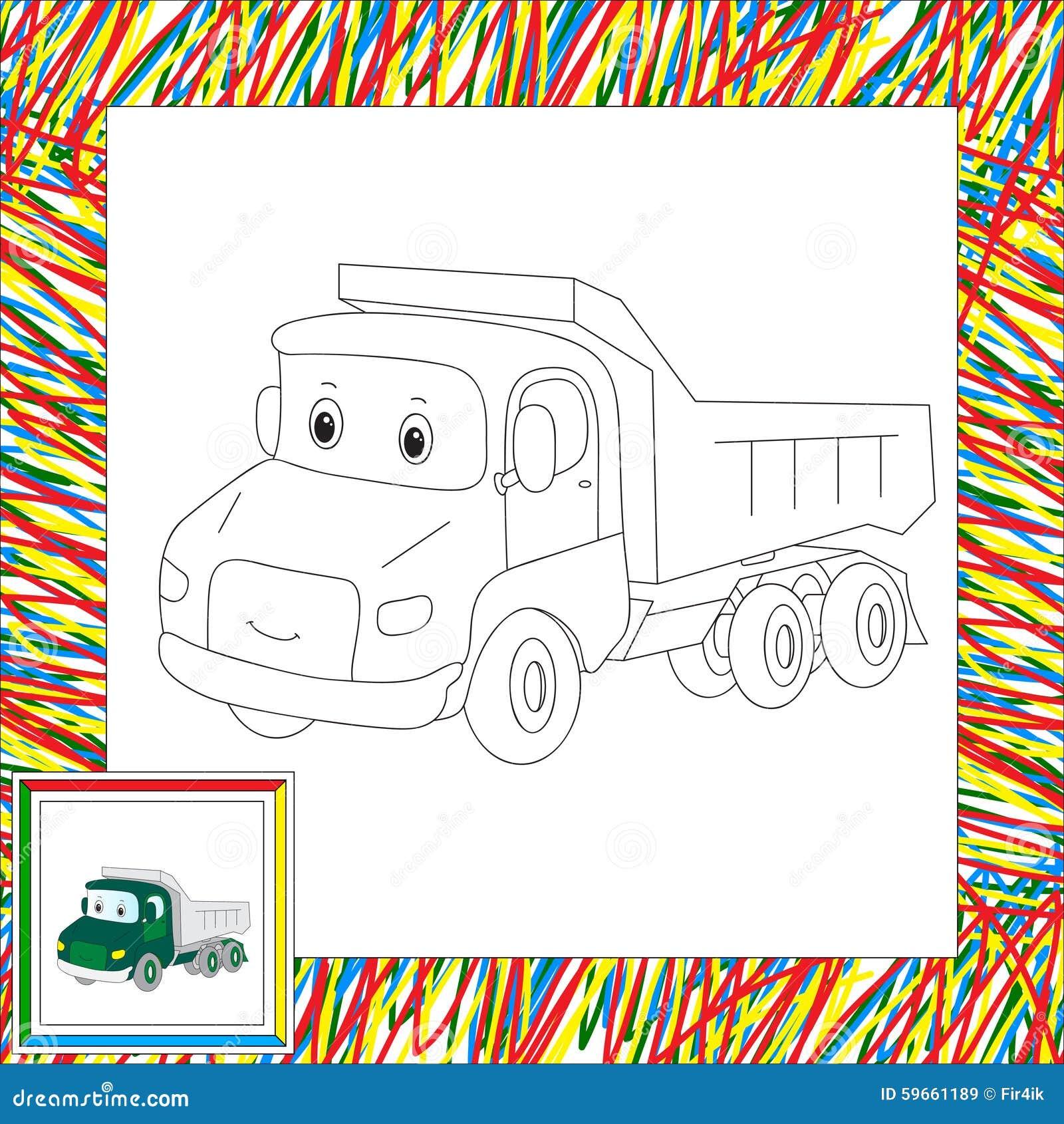 смешной грузовик шаржа книжка раскраска для детей