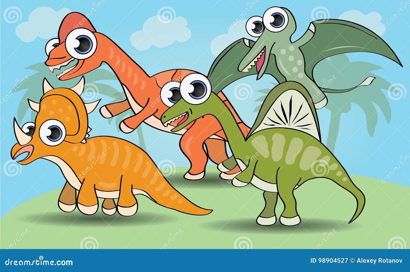 Смешной динозавр стиля шаржа