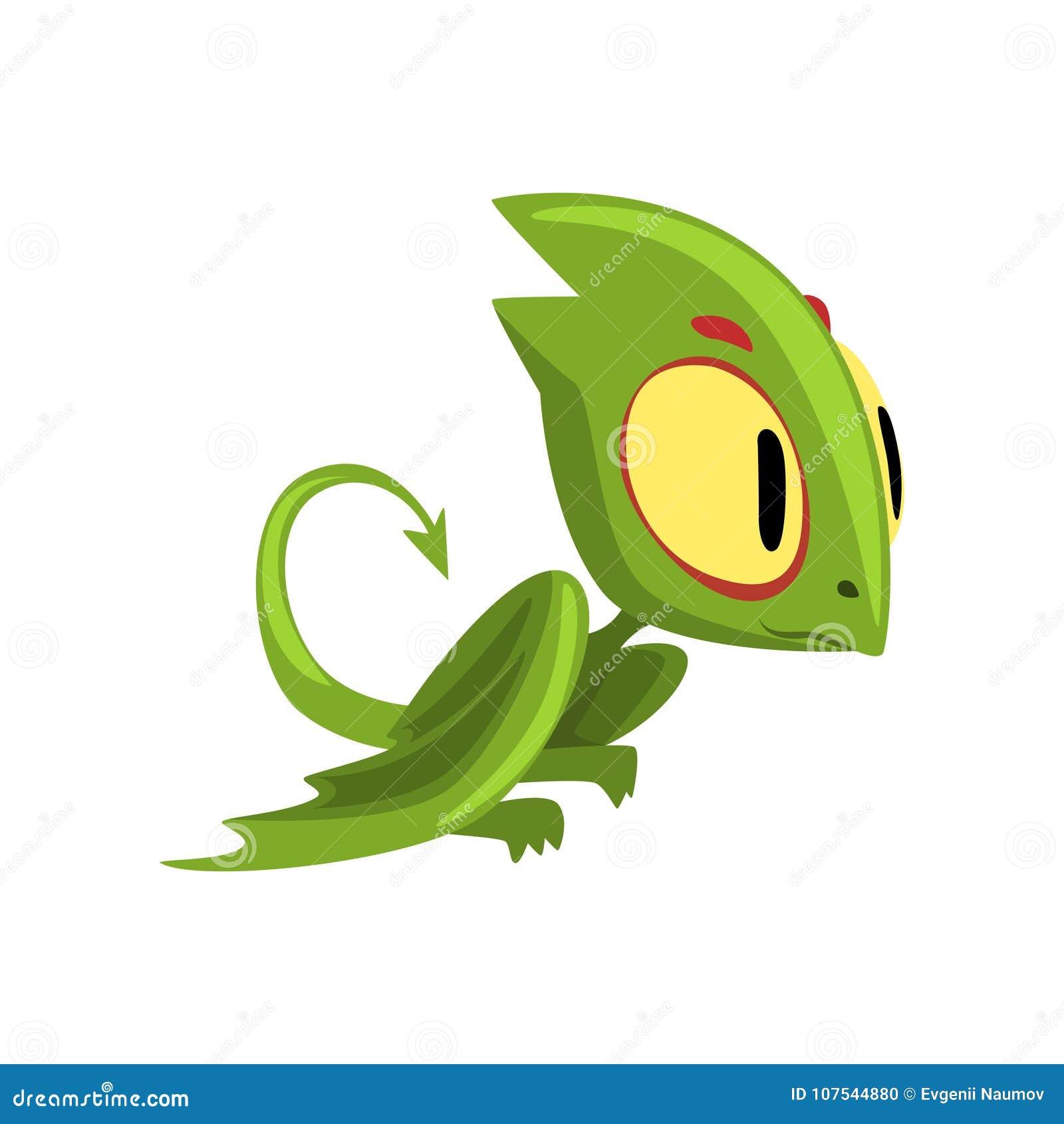 Смешной зеленый дракон с большими глазами, головой и длинным хвостом Персонаж из мультфильма мифической твари Плоский элемент диз