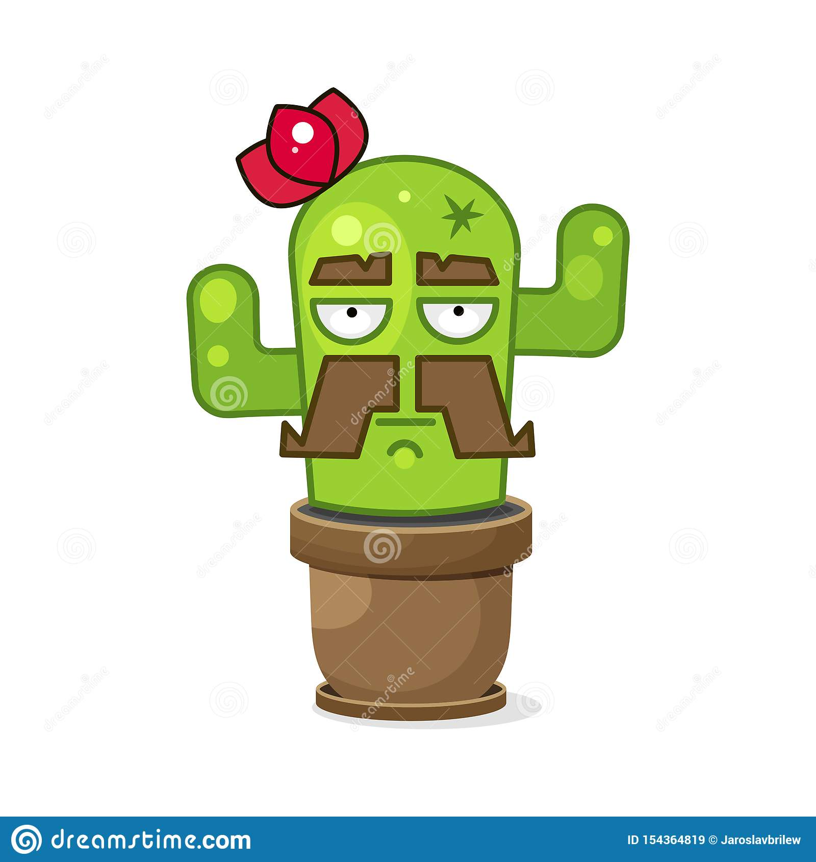 Смешной зеленый мексиканский кактус r r