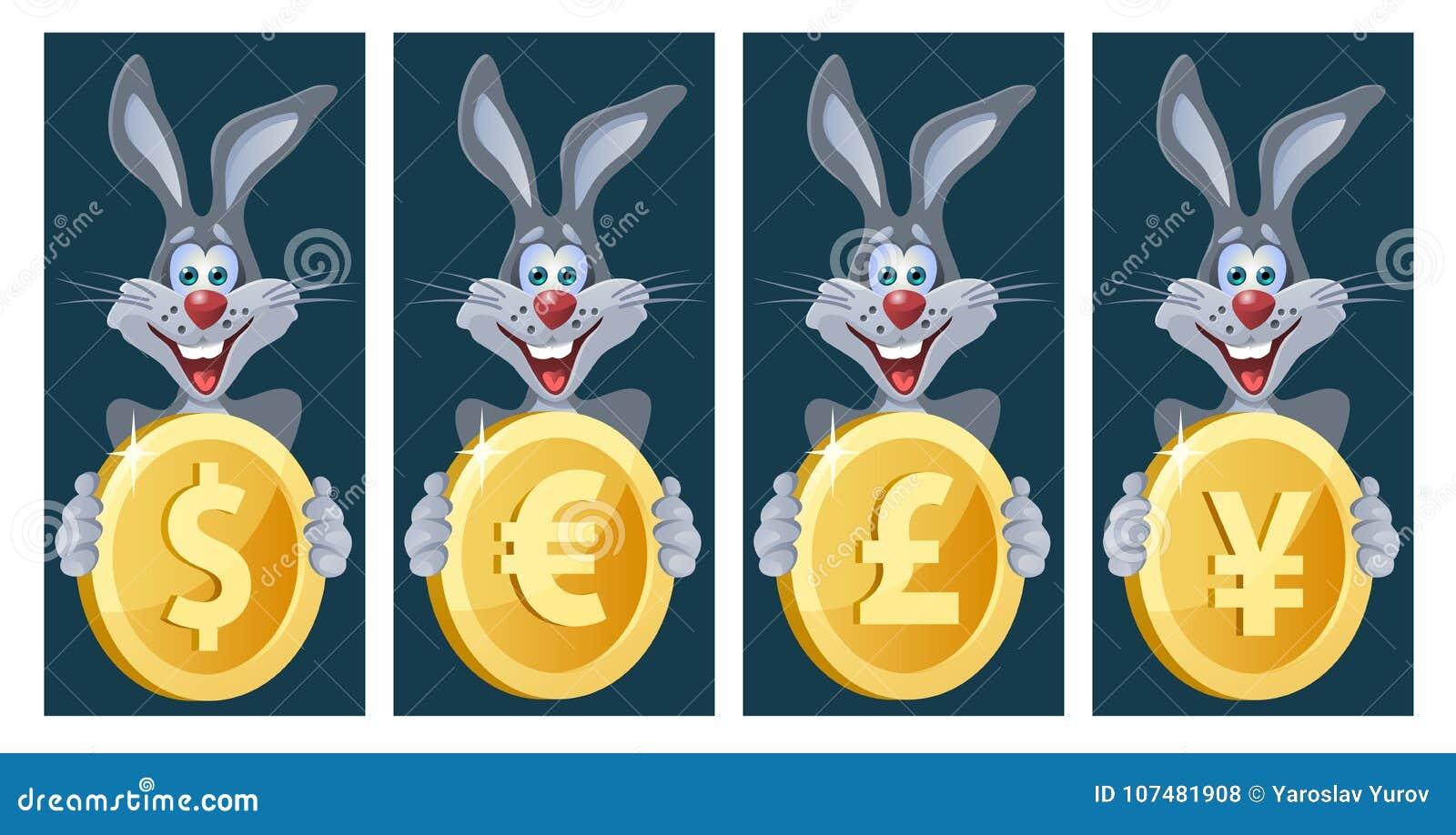 Смешной кролик держит символы различных валют Доллар, евро
