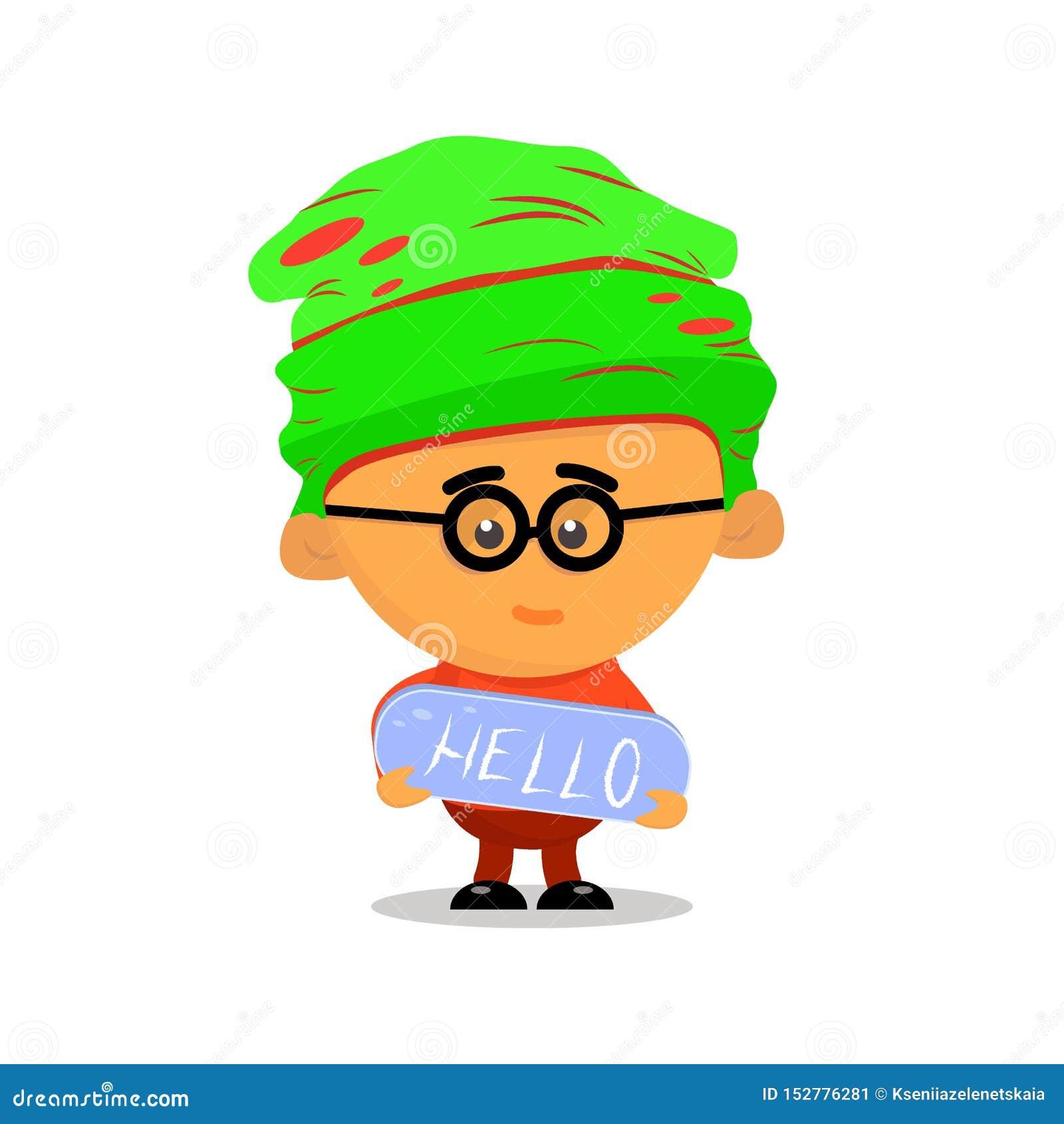 Смешной мальчик мультфильма в стеклах и шляпе с голубым знаком здравствуйте r