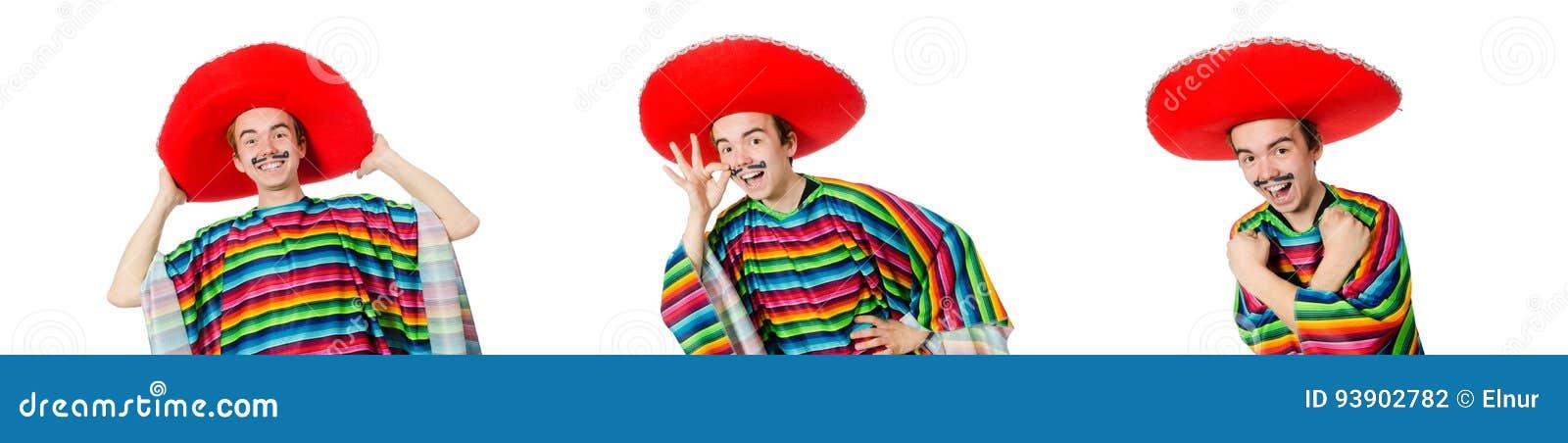 Смешной молодой мексиканец при ложный усик изолированный на белизне