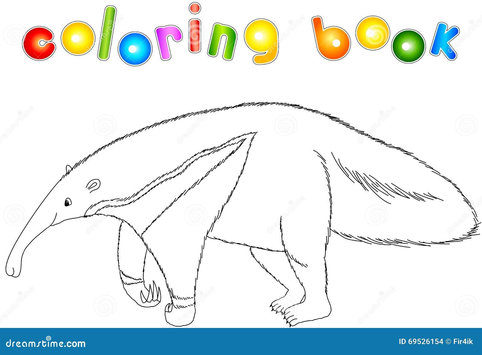 Смешной муравьед шаржа Книжка-раскраска для детей ...