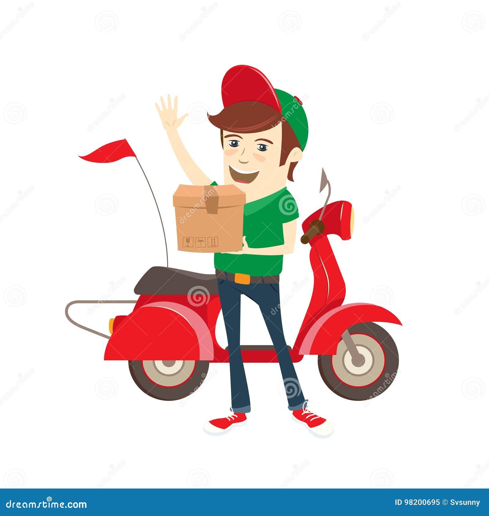 Download Смешной носильщик мелких грузов поставляя коробку самокатом Плоская иллюстрация вектора Иллюстрация вектора - иллюстрации насчитывающей битник, мопед: 98200695