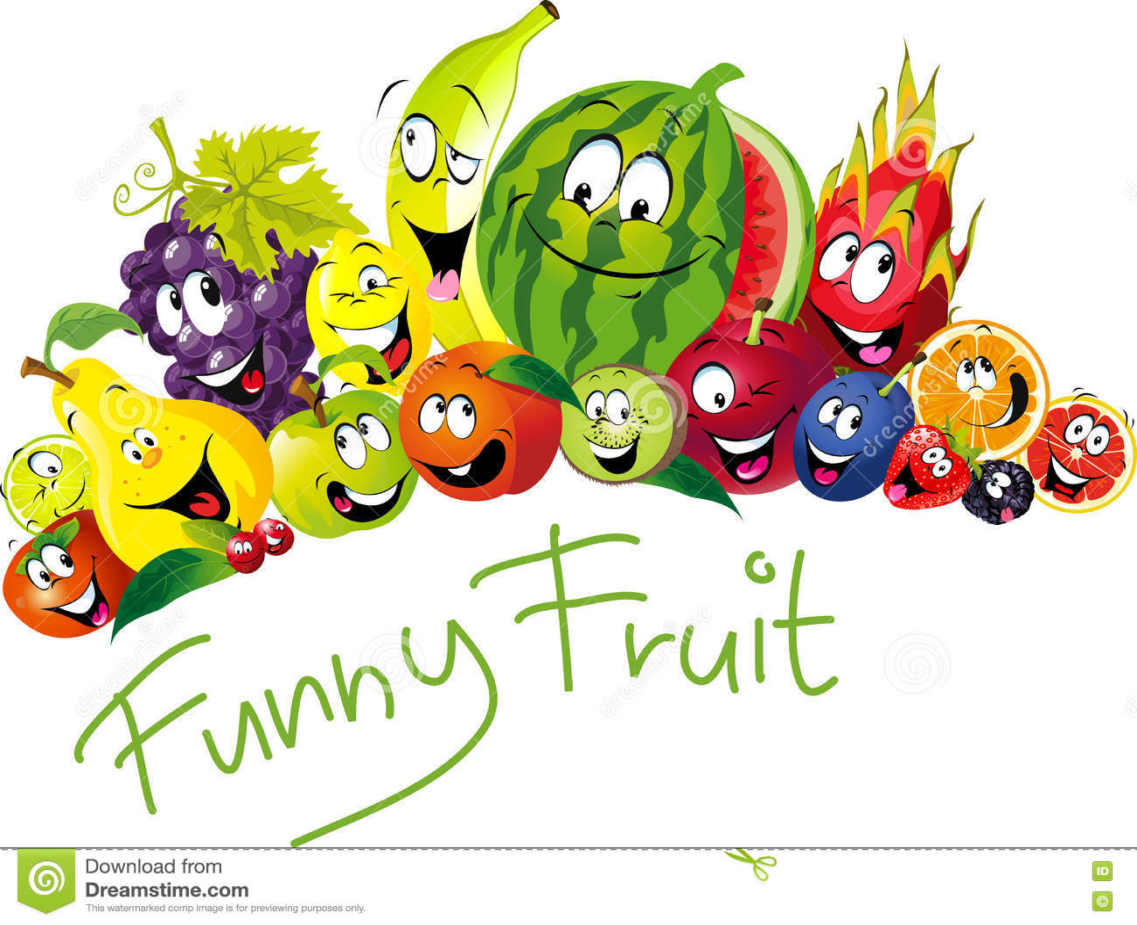 Смешной плодоовощ - много плодоовощ с улыбкой и счастливой стороной - vector плодоовощ