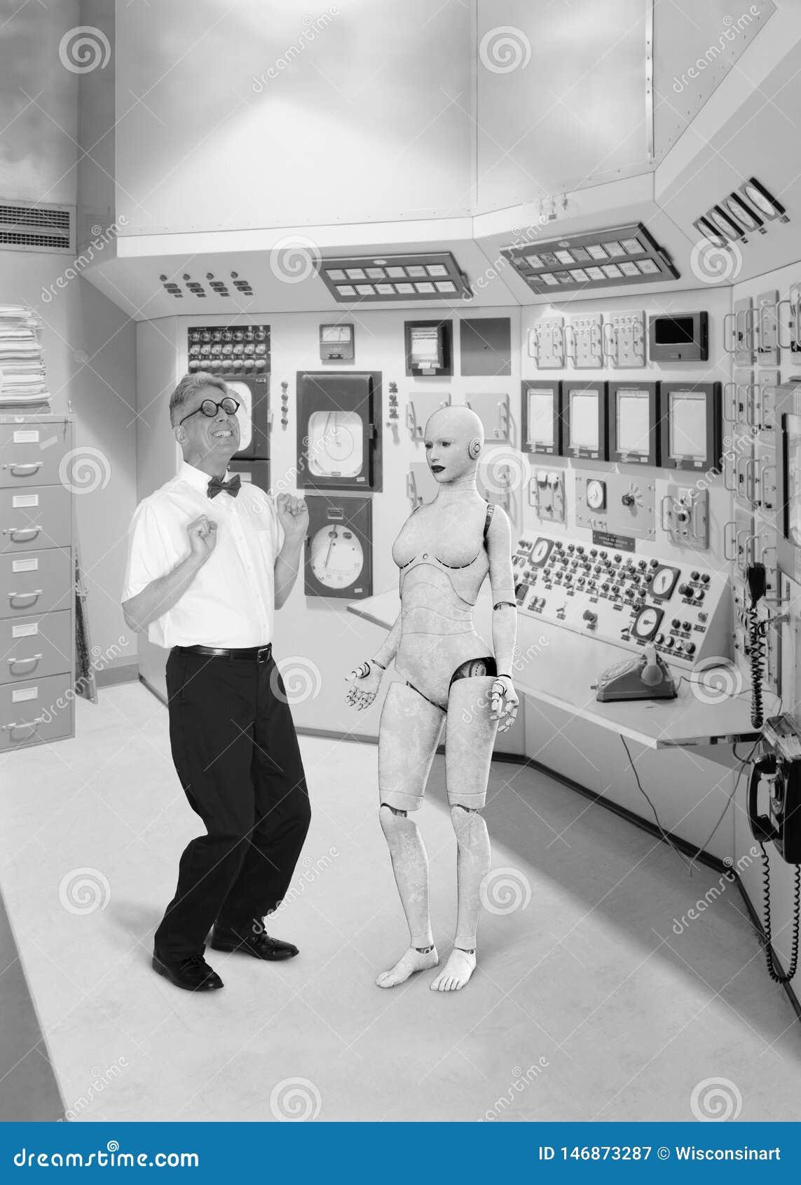 Смешной ретро ученый болвана, любовь, робот