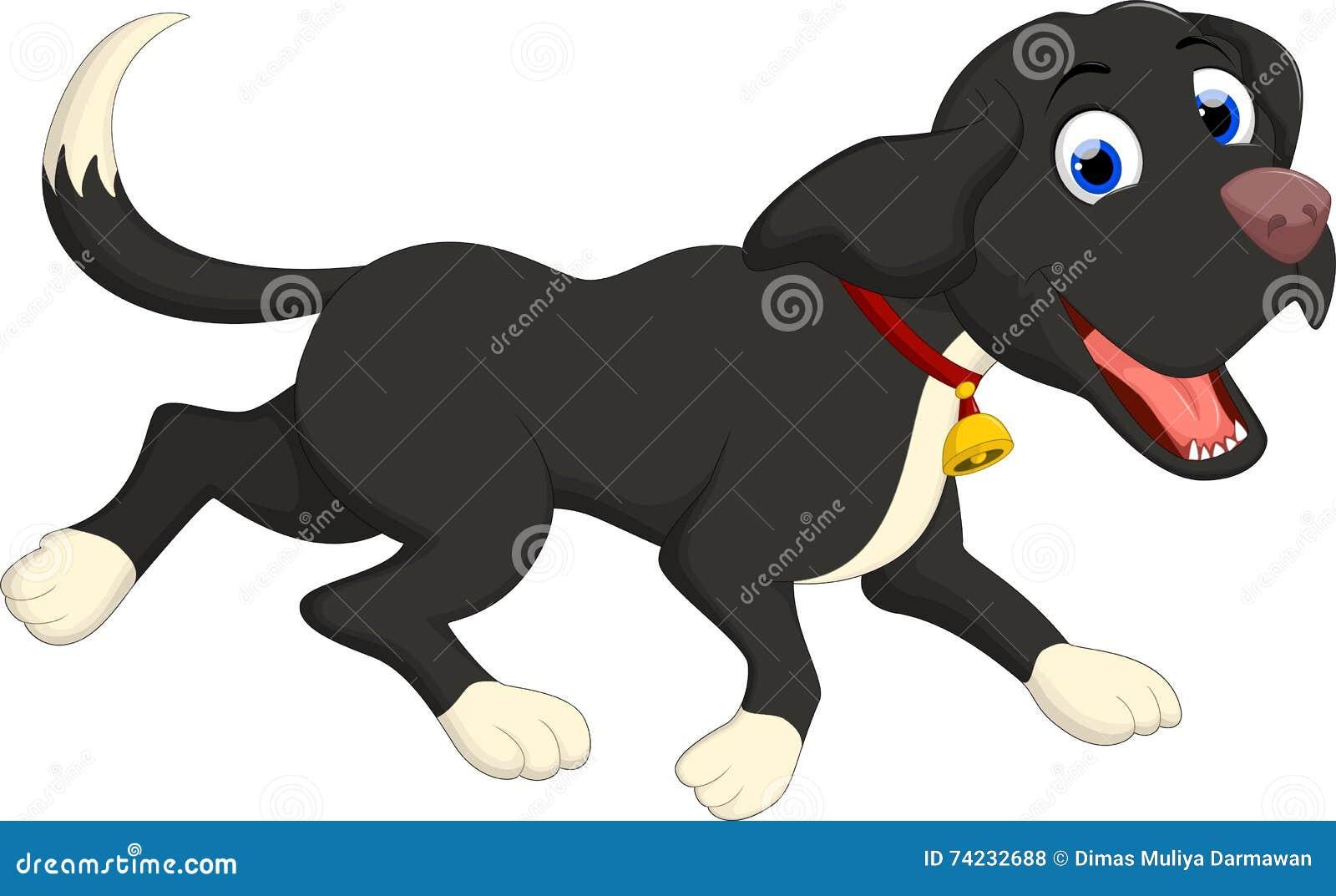 Смешной ход шаржа черной собаки