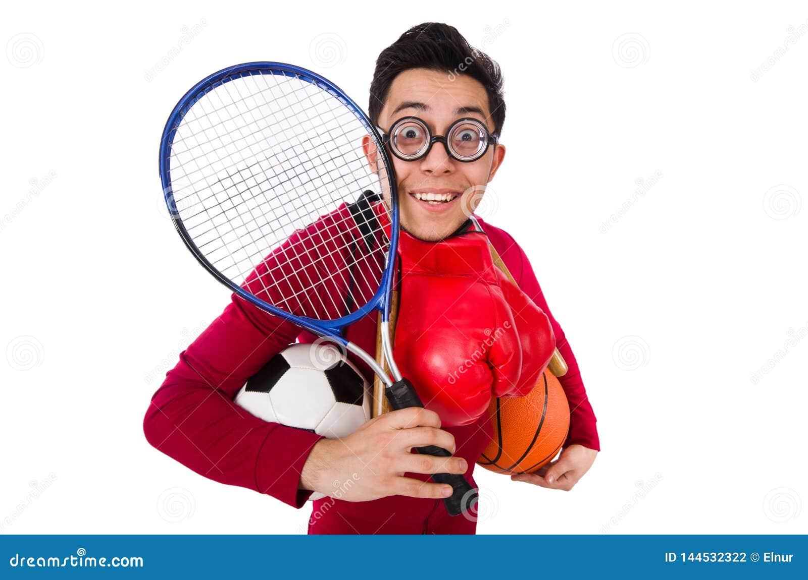 Смешной человек в концепции спорт на белизне