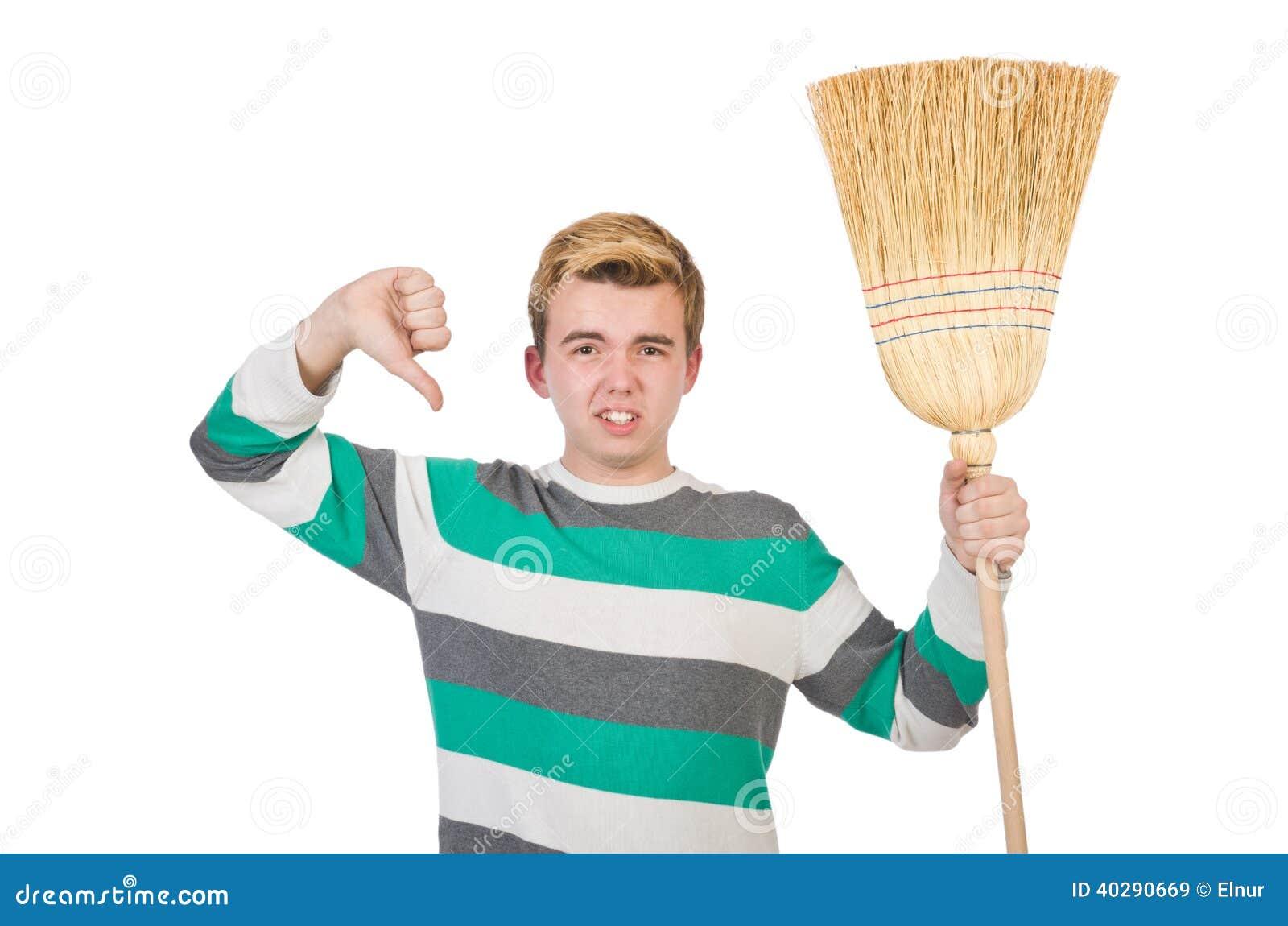 Смешной человек с mop