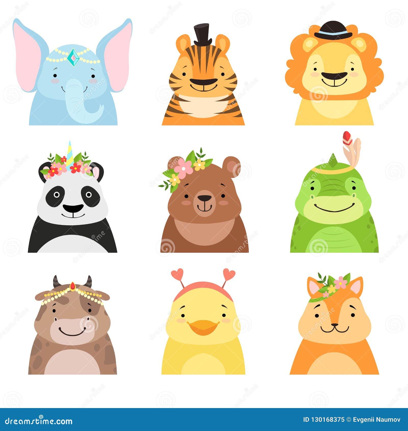 Смешные животные нося различный набор шляп, слона, тигра, льва, панду, медведя, динозавра, корову, воплощения милого мультфильма
