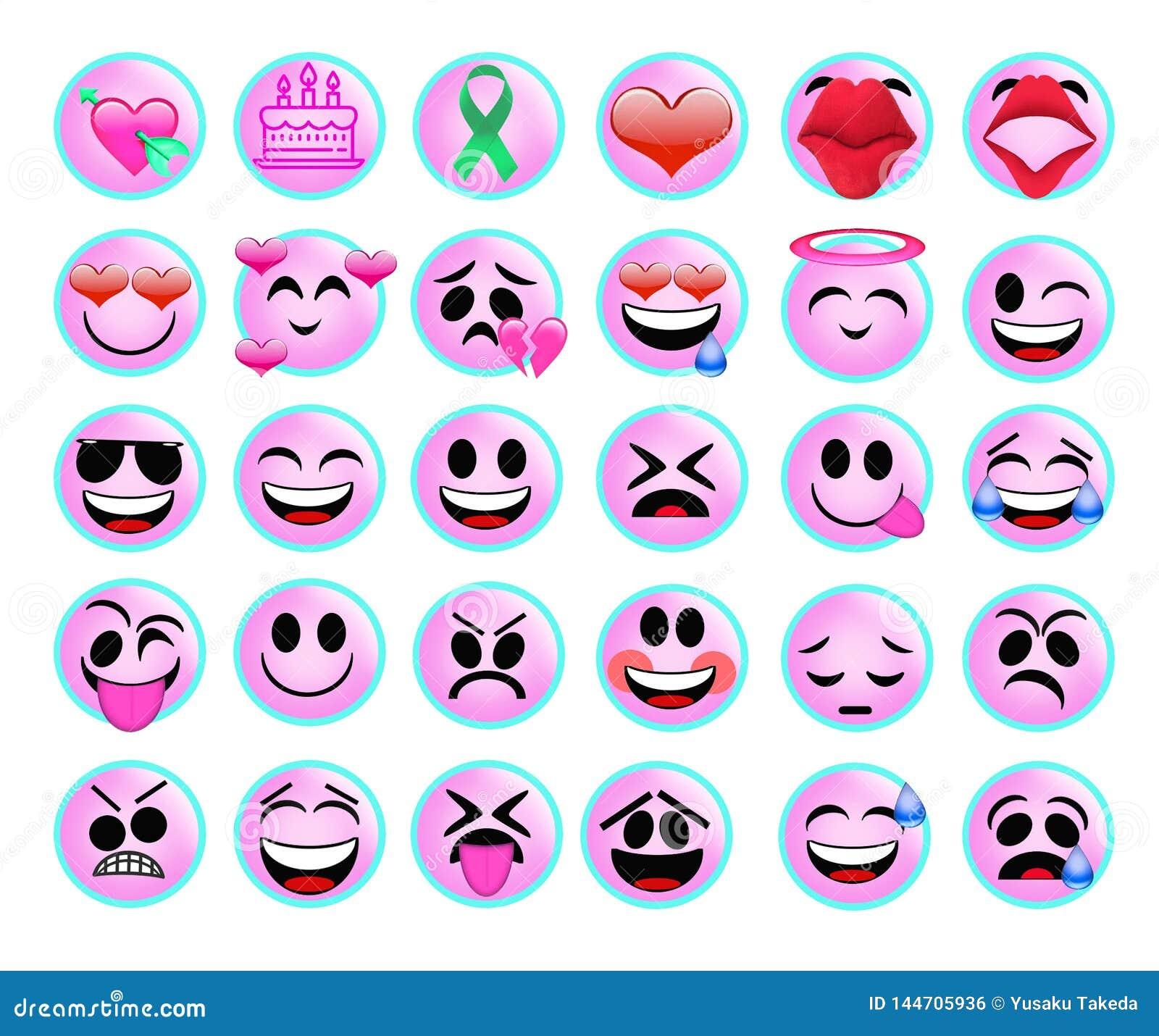 Смешные значки emoji установили для сети на белой предпосылке