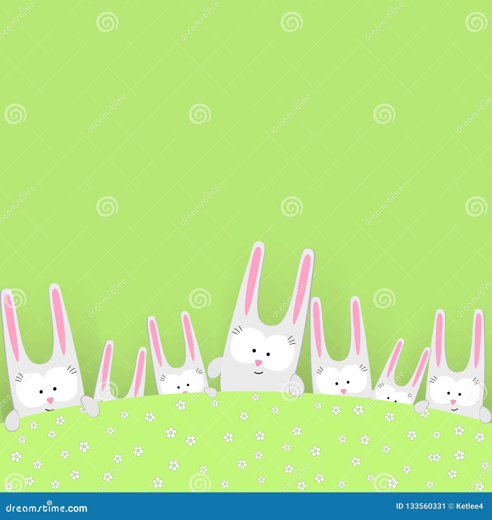 Смешные милые кролики на зеленой предпосылке с зайчиком зайцев характера doodles цветков творческим рисуя символ праздника пасхи