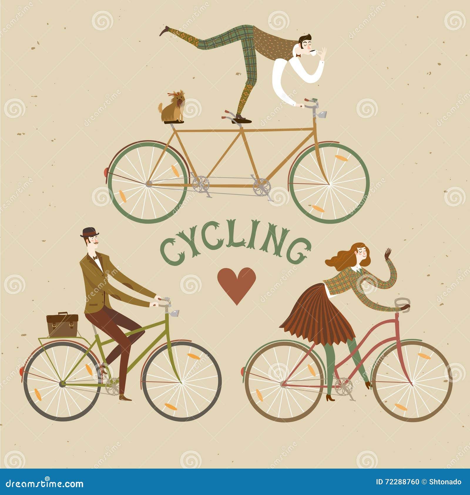 Download Смешные установленные велосипедисты дамы и джентльмена Иллюстрация вектора - иллюстрации насчитывающей arkhangelsk, люди: 72288760