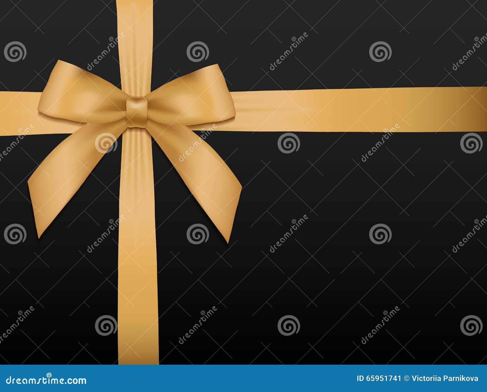 Смычок золота с лентами Сияющая лента сатинировки золота праздника на черноте