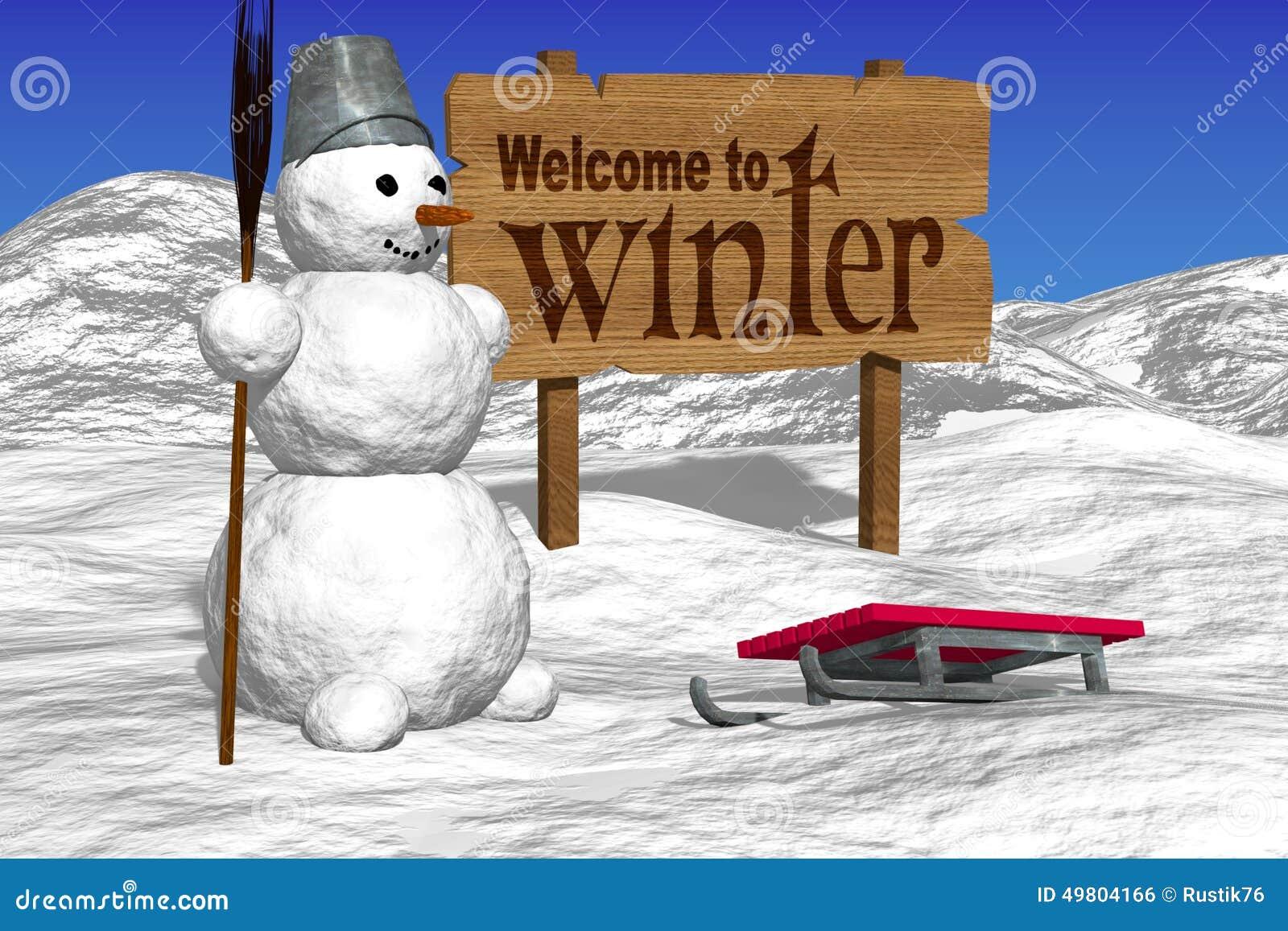 Снеговик и доски приветствуя Добро пожаловать к зиме